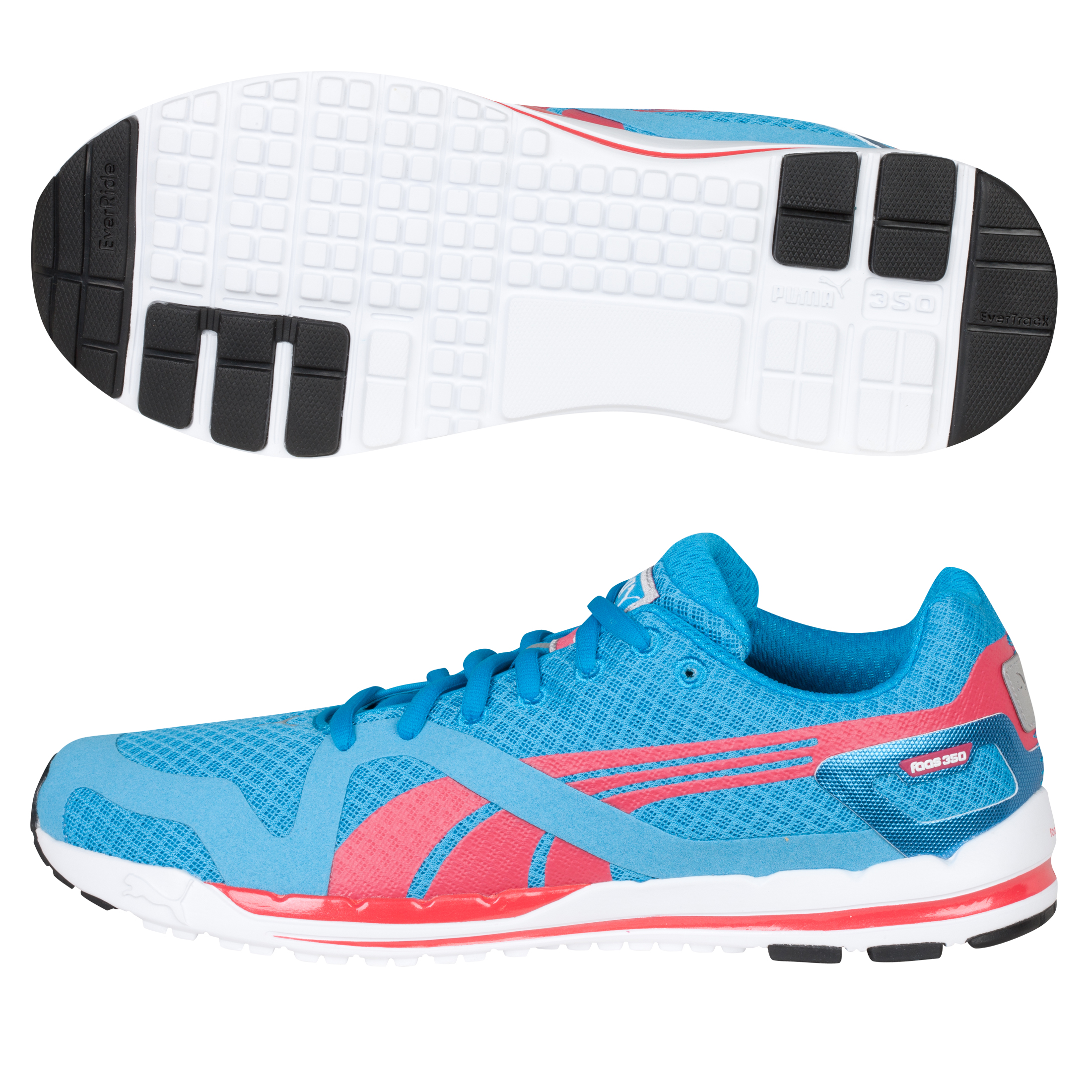 Puma 350 Stability Racer Running Trainers - Vivid Blue/White/Teaberry Red - Womens