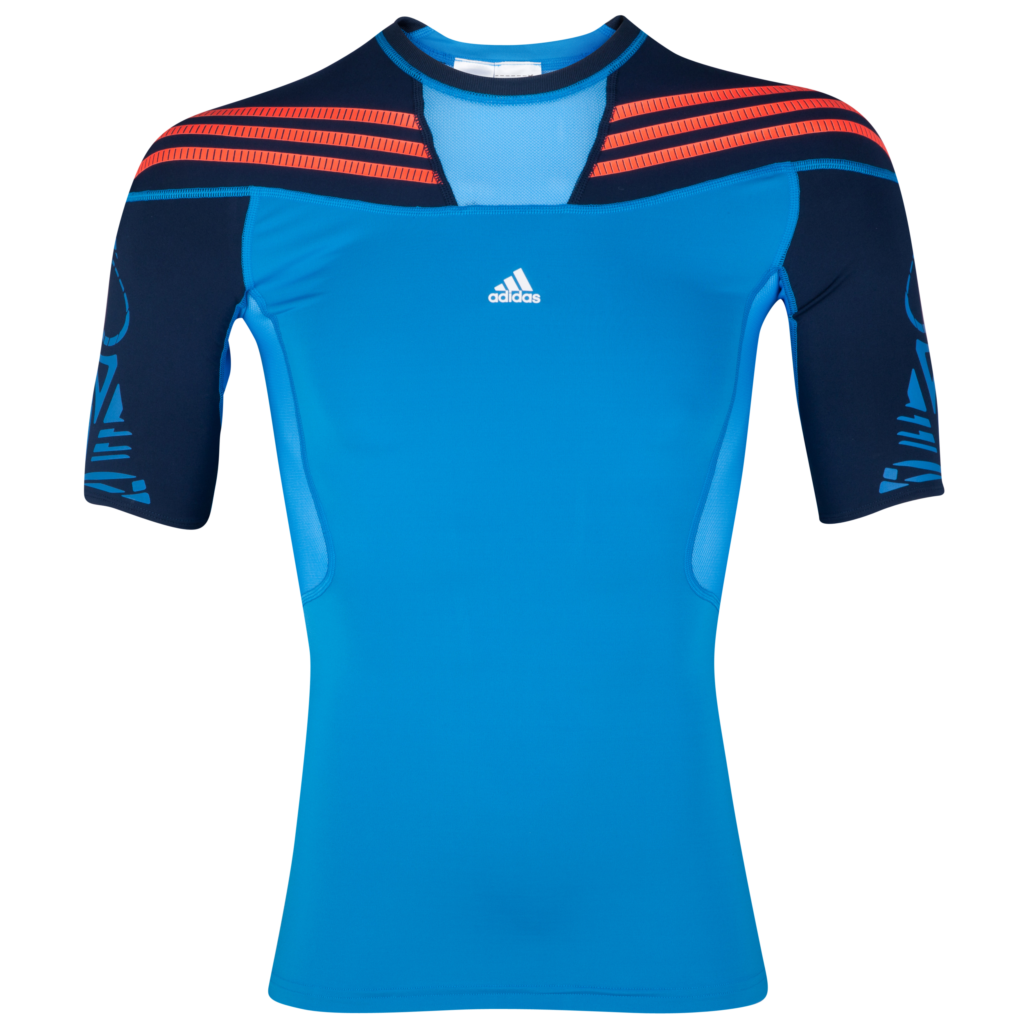 adidas TechFit Preperation Baselayer Top - Short Sleeve - Bright Blue/Collegiate Navy/Infrared