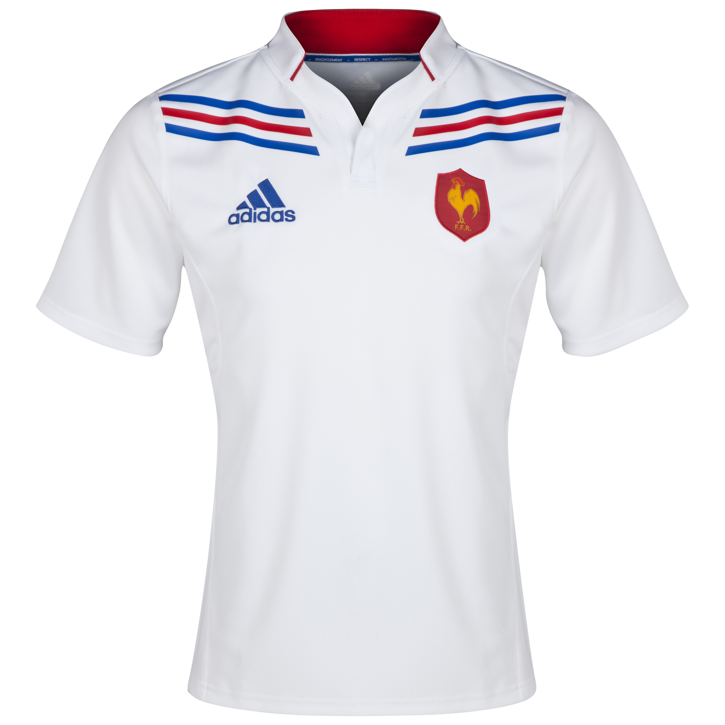 France Away Rugby Shirt 2012/14 - White/True Blue/Poppy