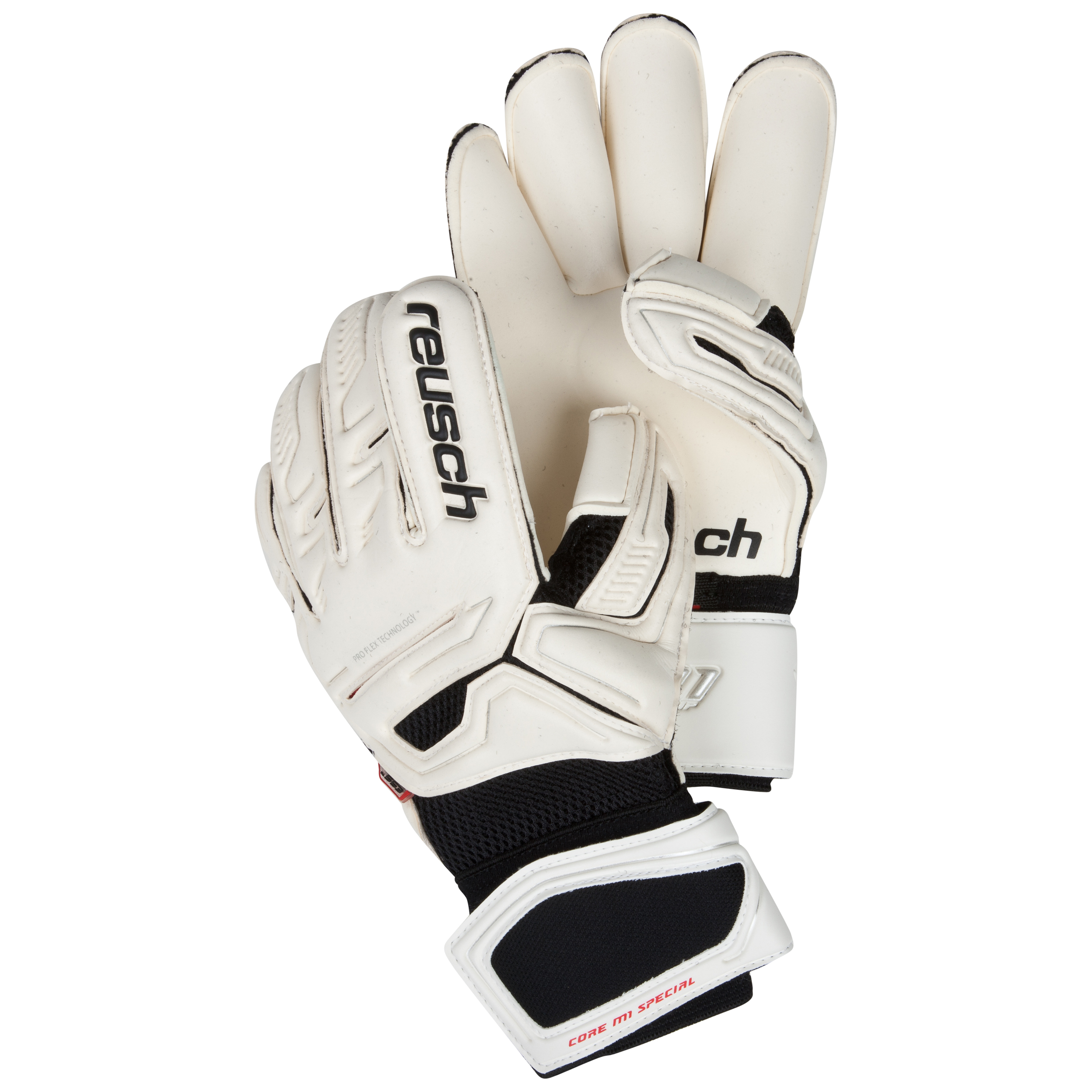 Reusch CF Pro M1 Special Goalkeeper Gloves-White/Fire Red/Lime Green