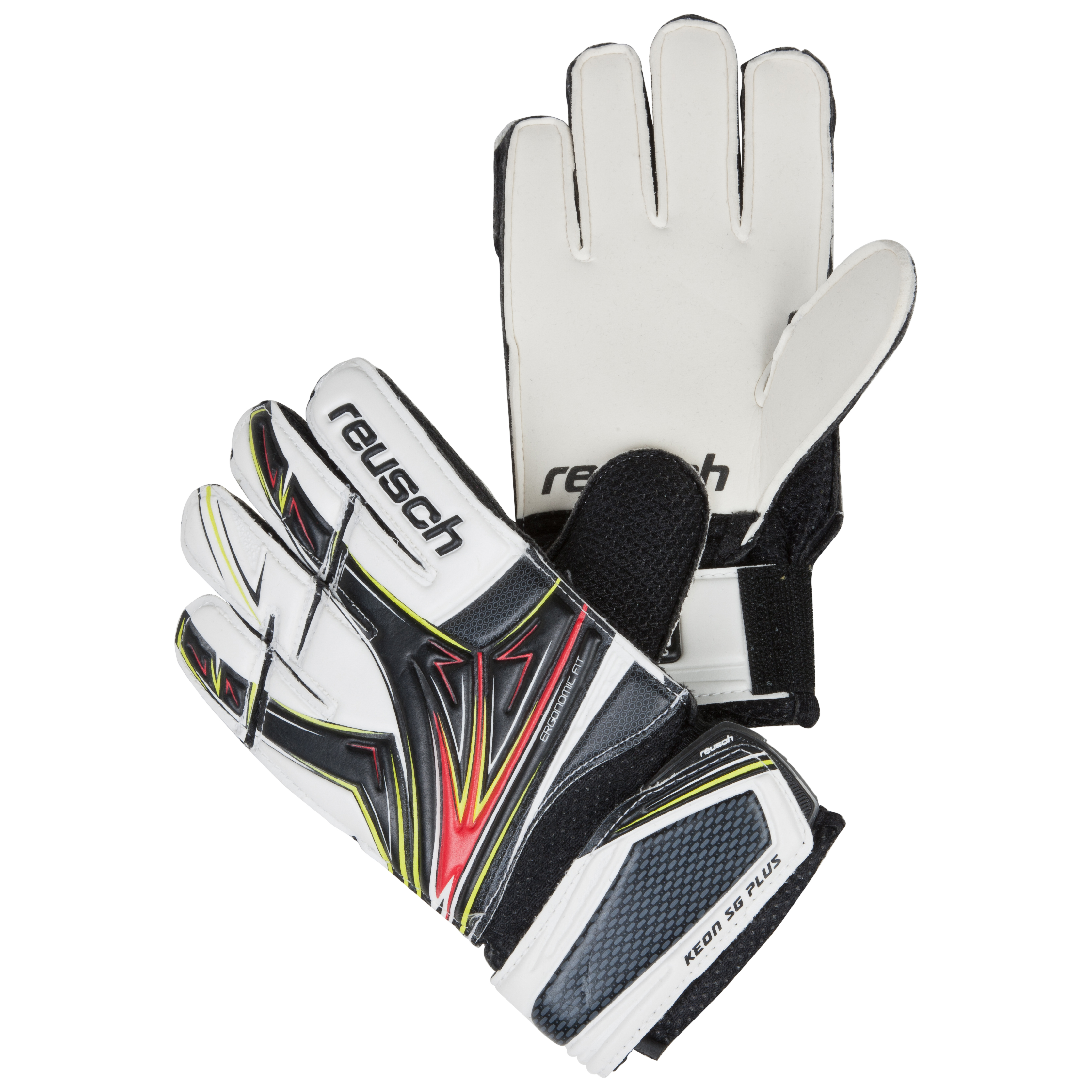 Reusch Keon SG Plus Finger Support Goalkeeper Gloves - Kids-Black/White