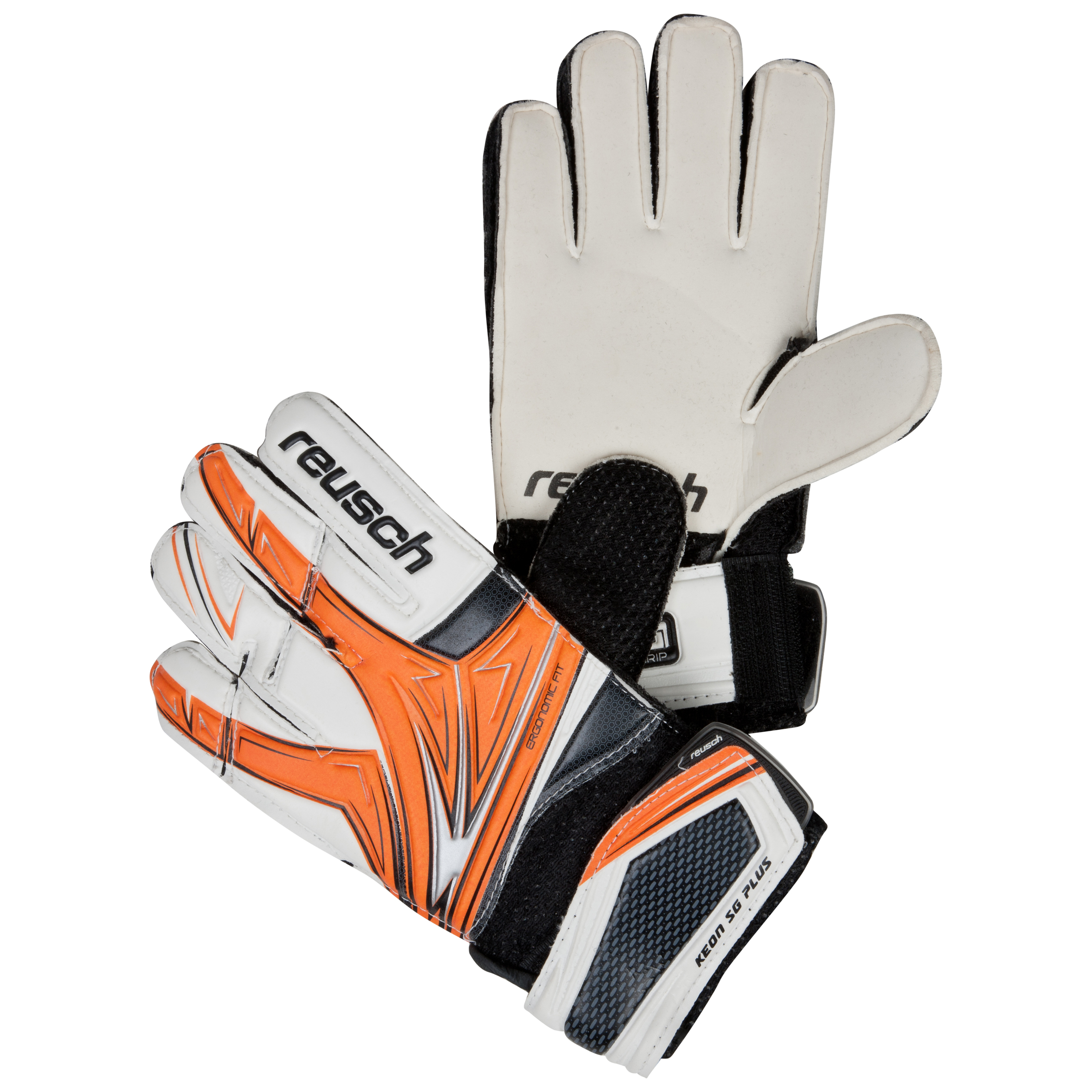 Reusch Keon SG Plus Goalkeeper Gloves - Kids-Orange/Black/White