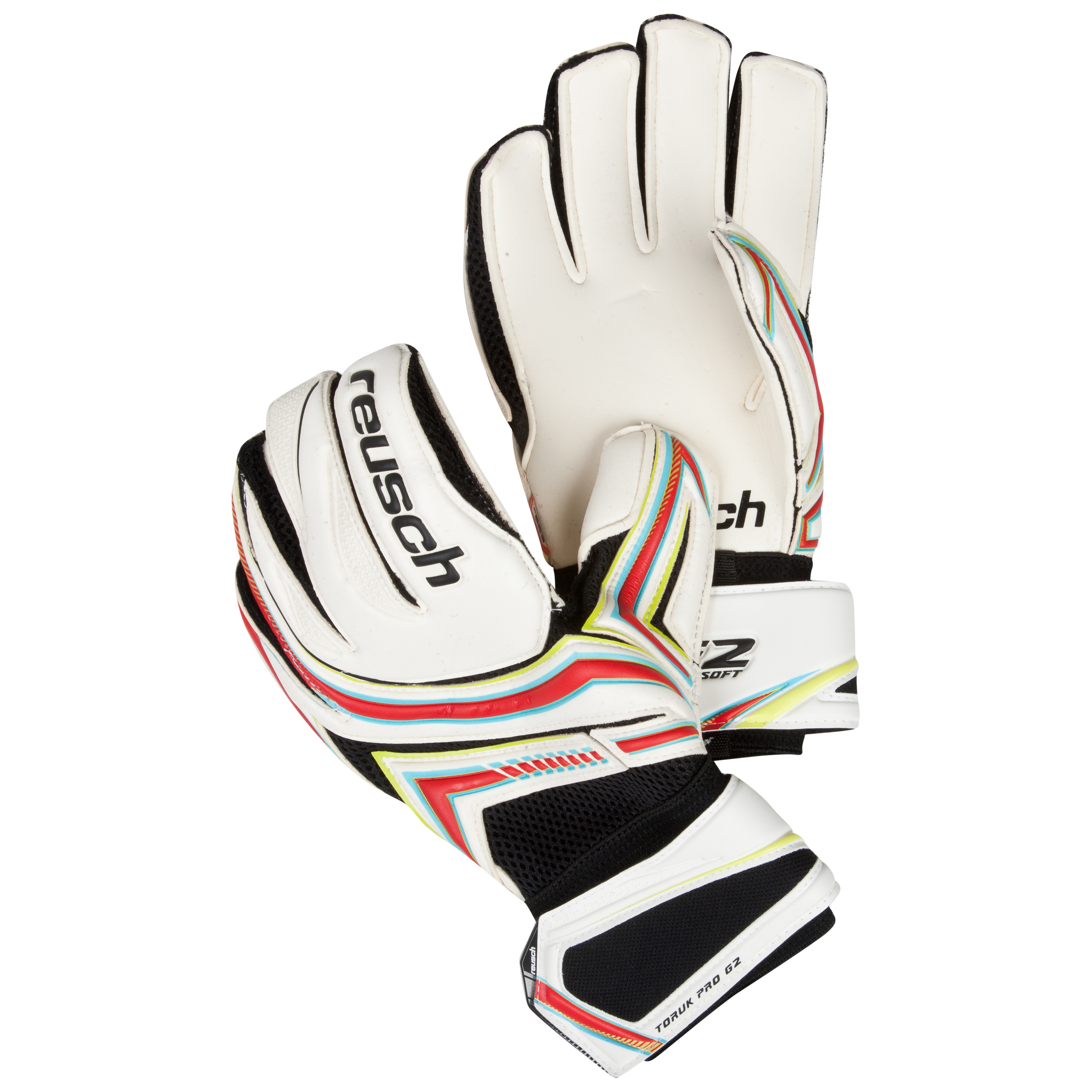Reusch Toruk Pro G2 Goalkeeper Gloves-White/Fire Red/Lime Green