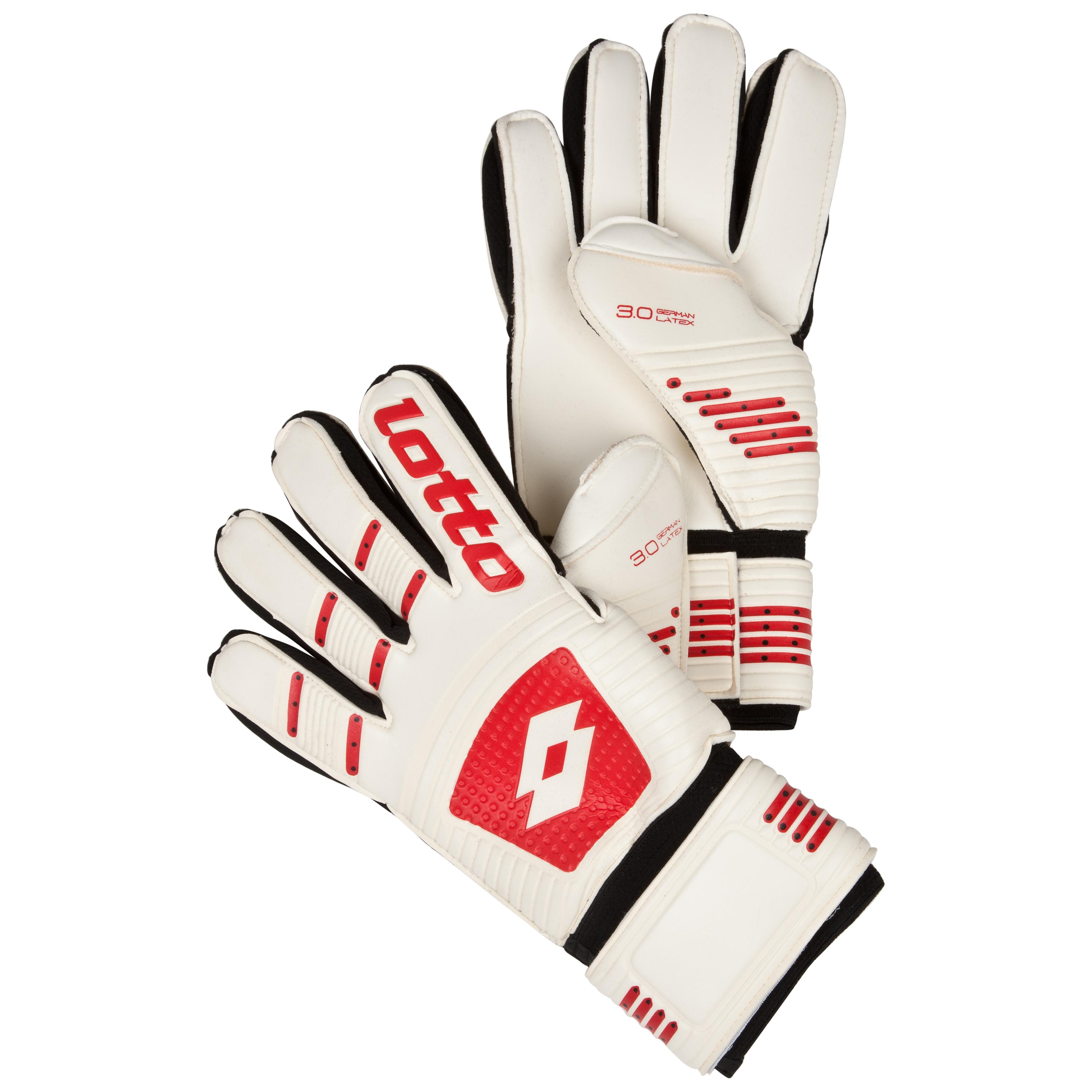 Lotto Gripster GK500 III Goalkeeper Gloves-White/Risk Red