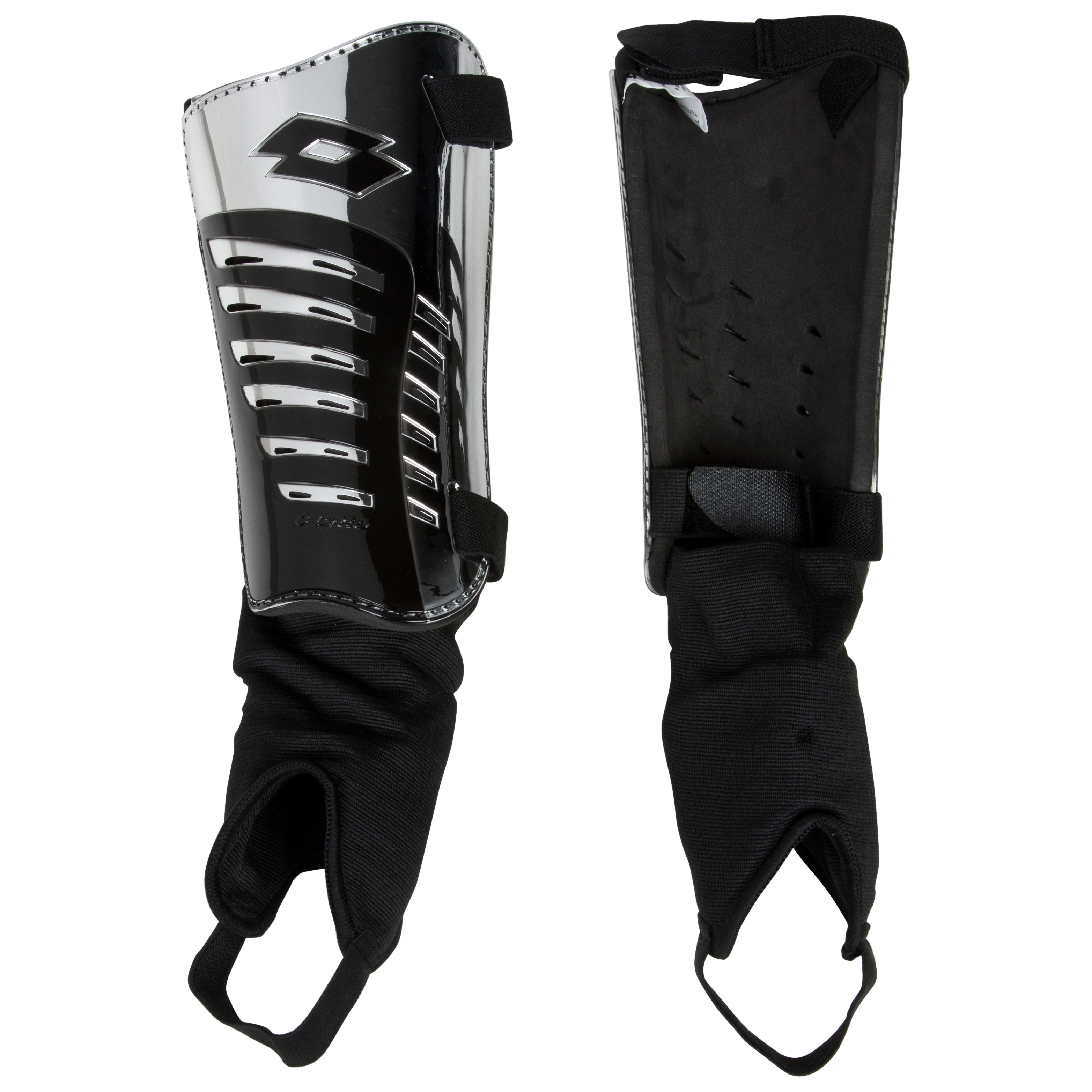 Lotto SH500 Shin Pads - Chrome/Black - Medium