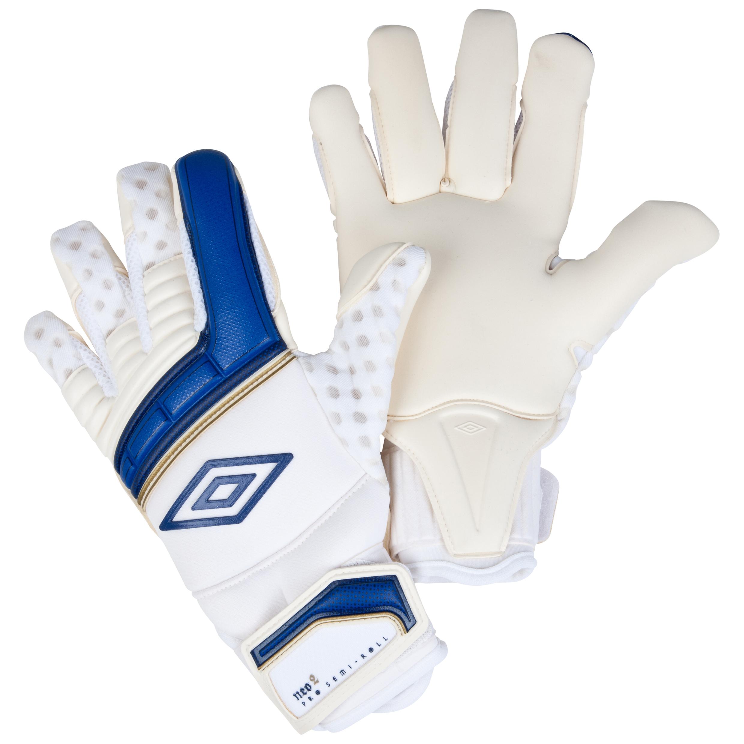 Umbro Neo Pro Goalkeeper Gloves-White / Twilight Blue / Gold