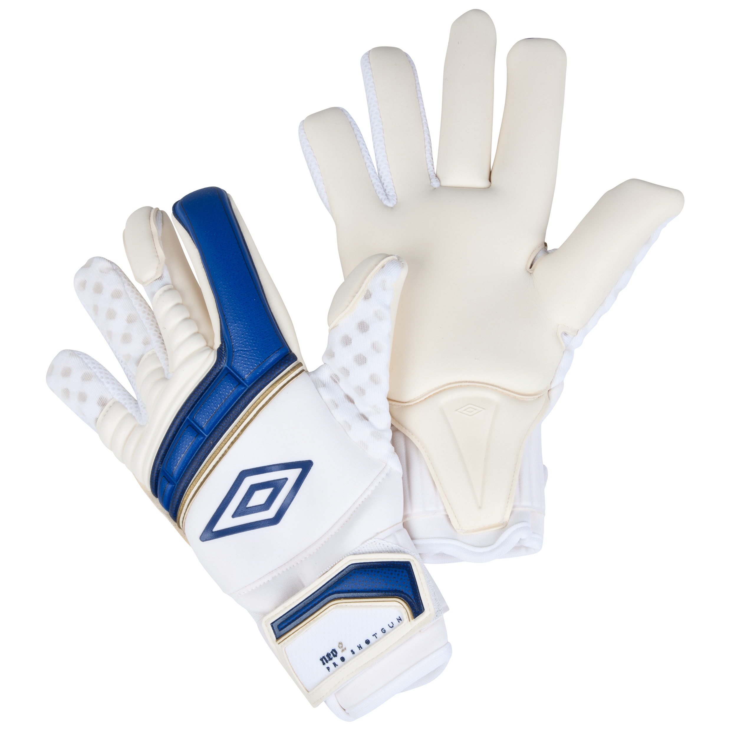Umbro Neo Pro Shotgun Goalkeeper Gloves-White / Twilight Blue / Gold