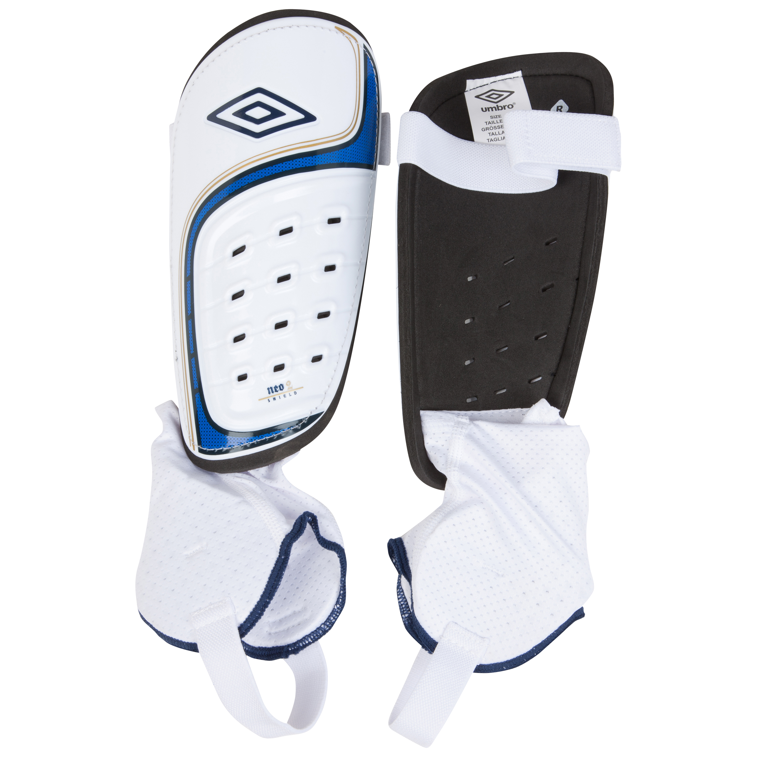 Umbro Neo Shield Shin Pads-White / Twilight Blue / Gold