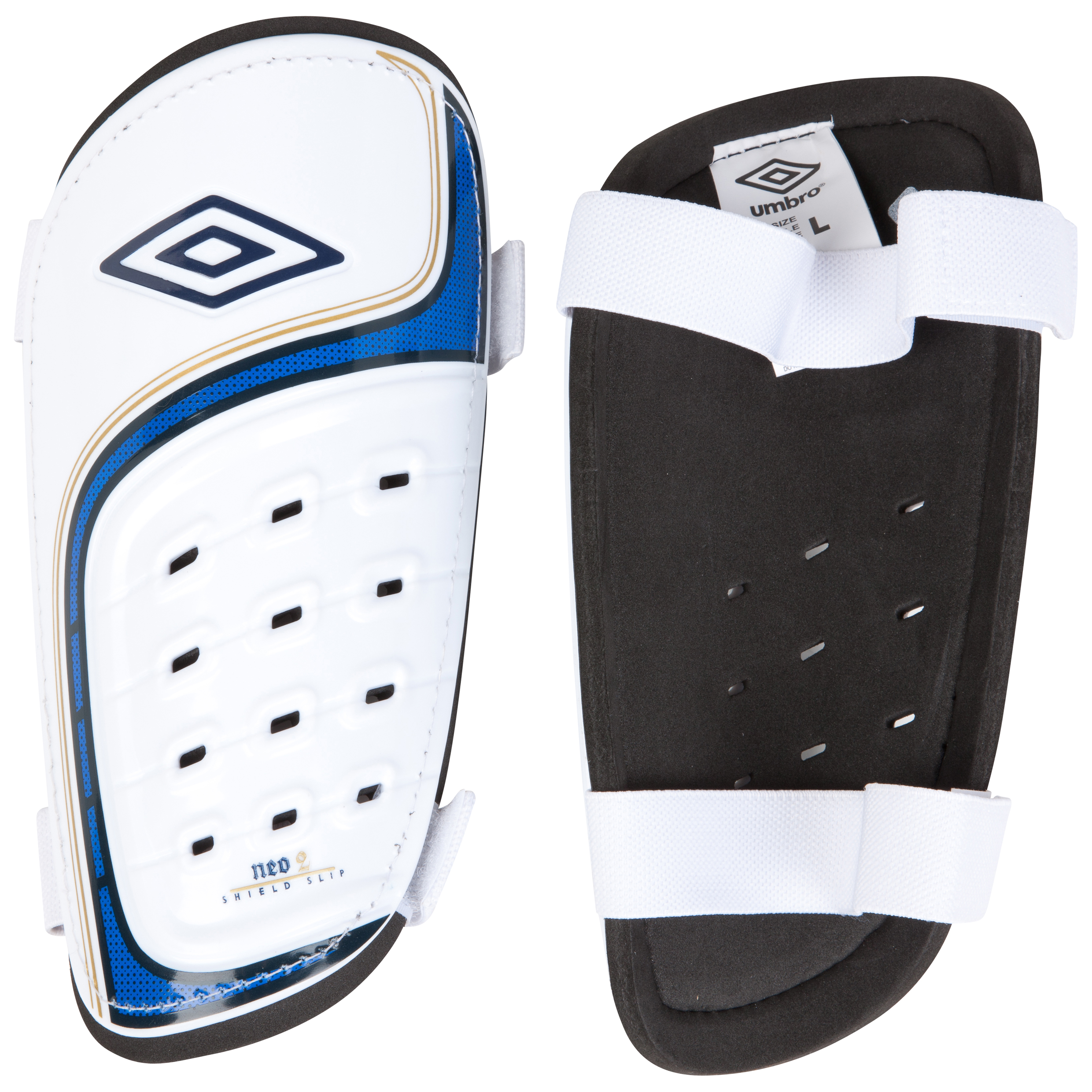 Umbro Neo Shield Slip Shin Pads - White / Twilight Blue / Gold
