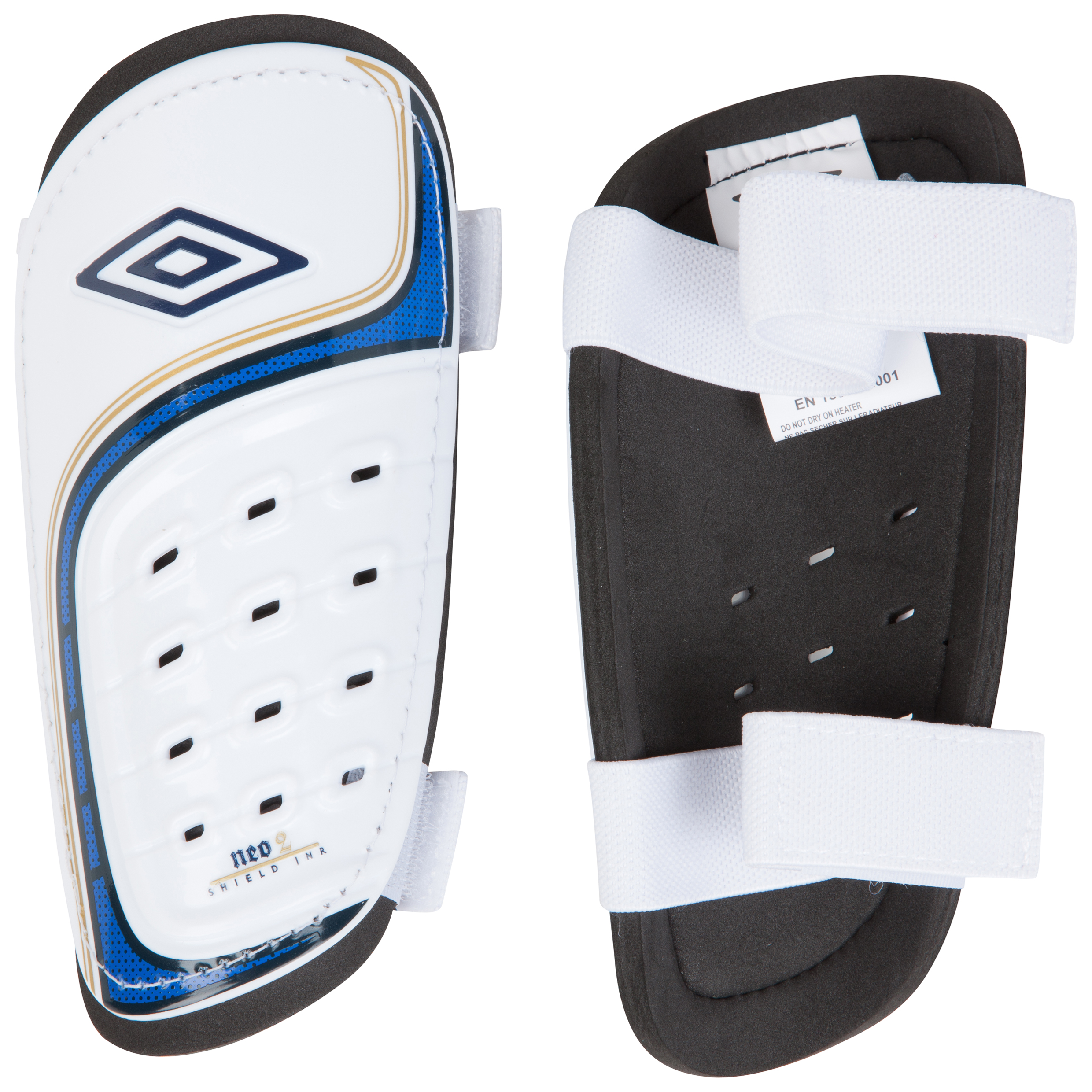 Umbro Neo Shield Shin Pads - White/Twilight Blue/Gold
