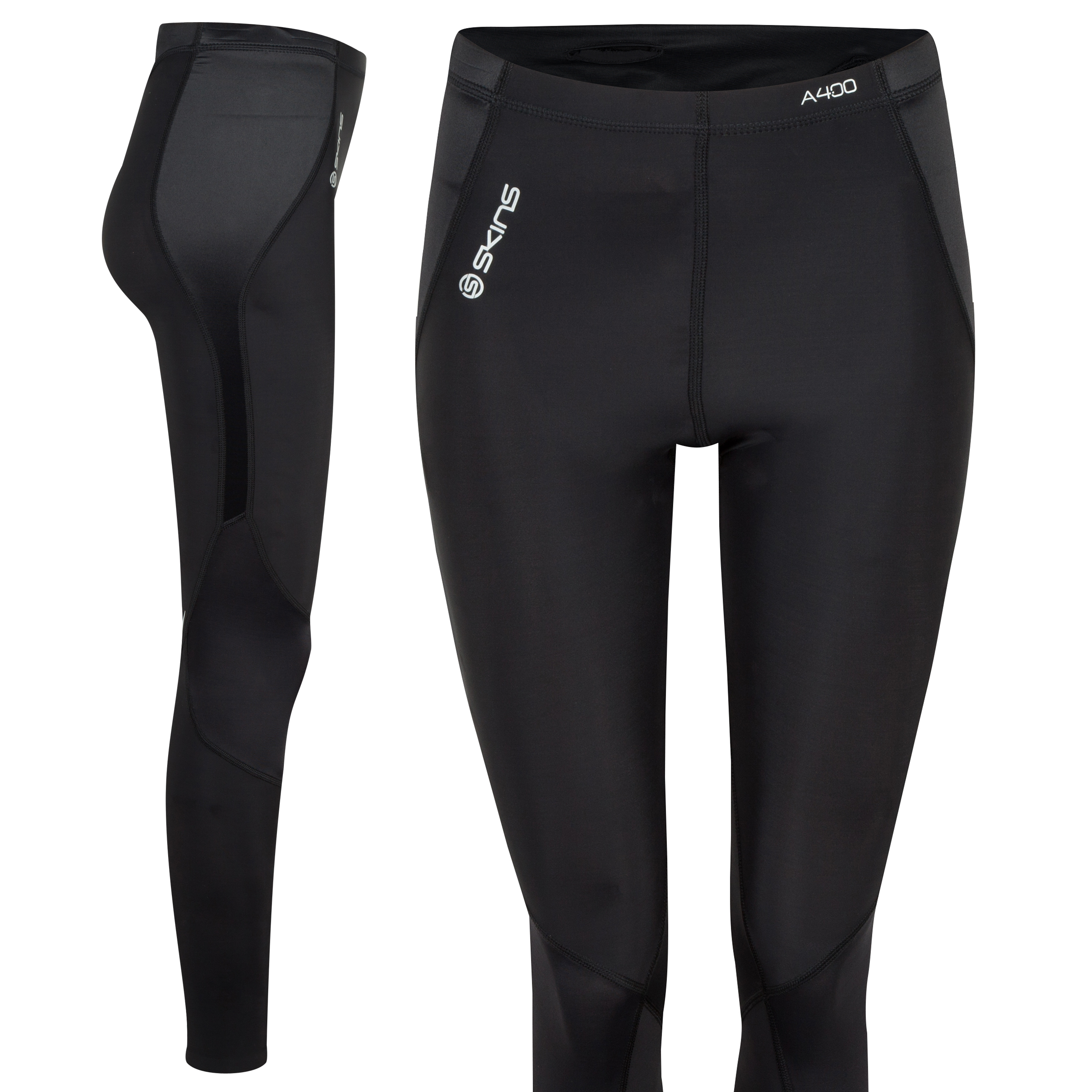 Skins A400 Active Long Tights-Black/Silver - Womens
