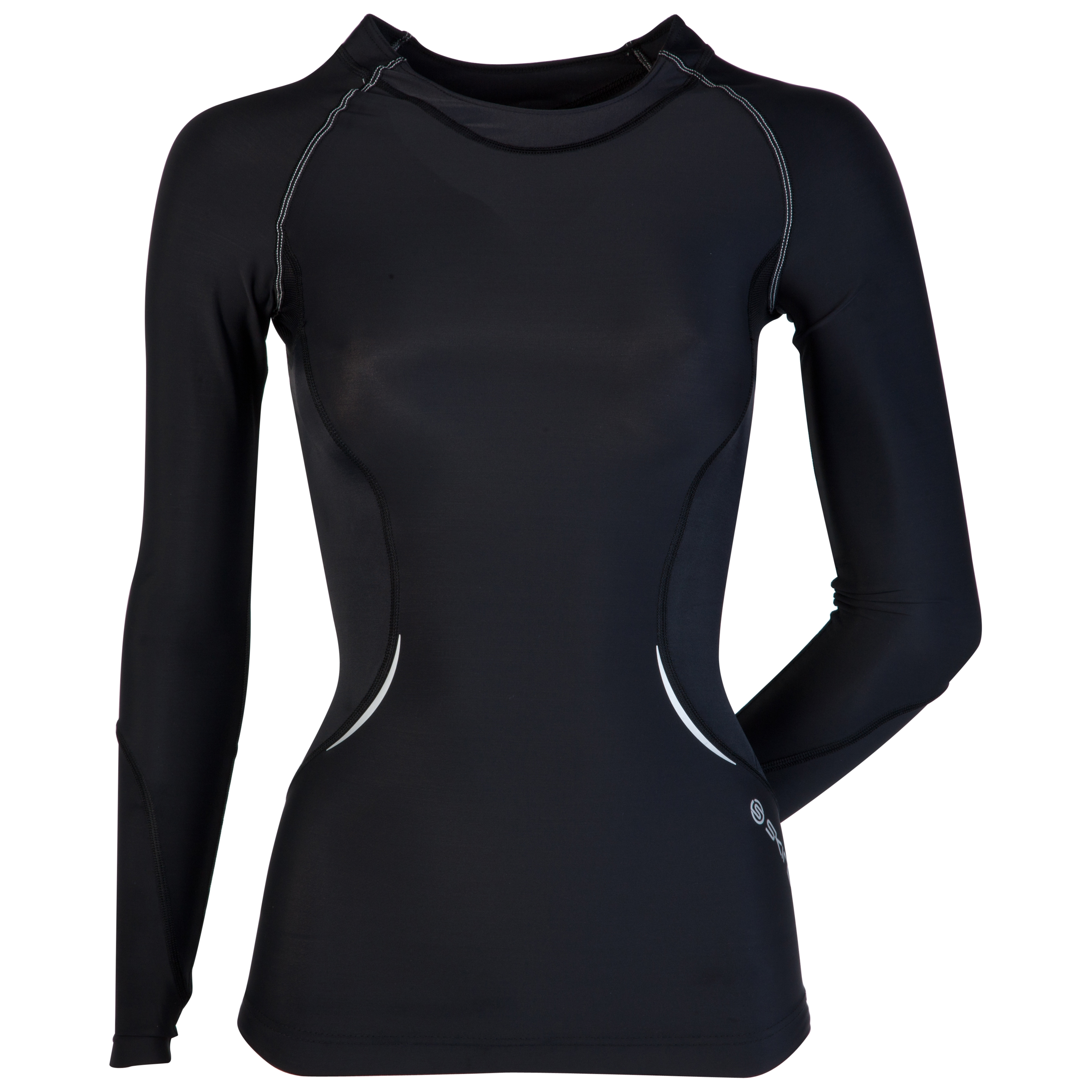 Skins A400 Active Long Sleeve Top - Black/Silver - Womens