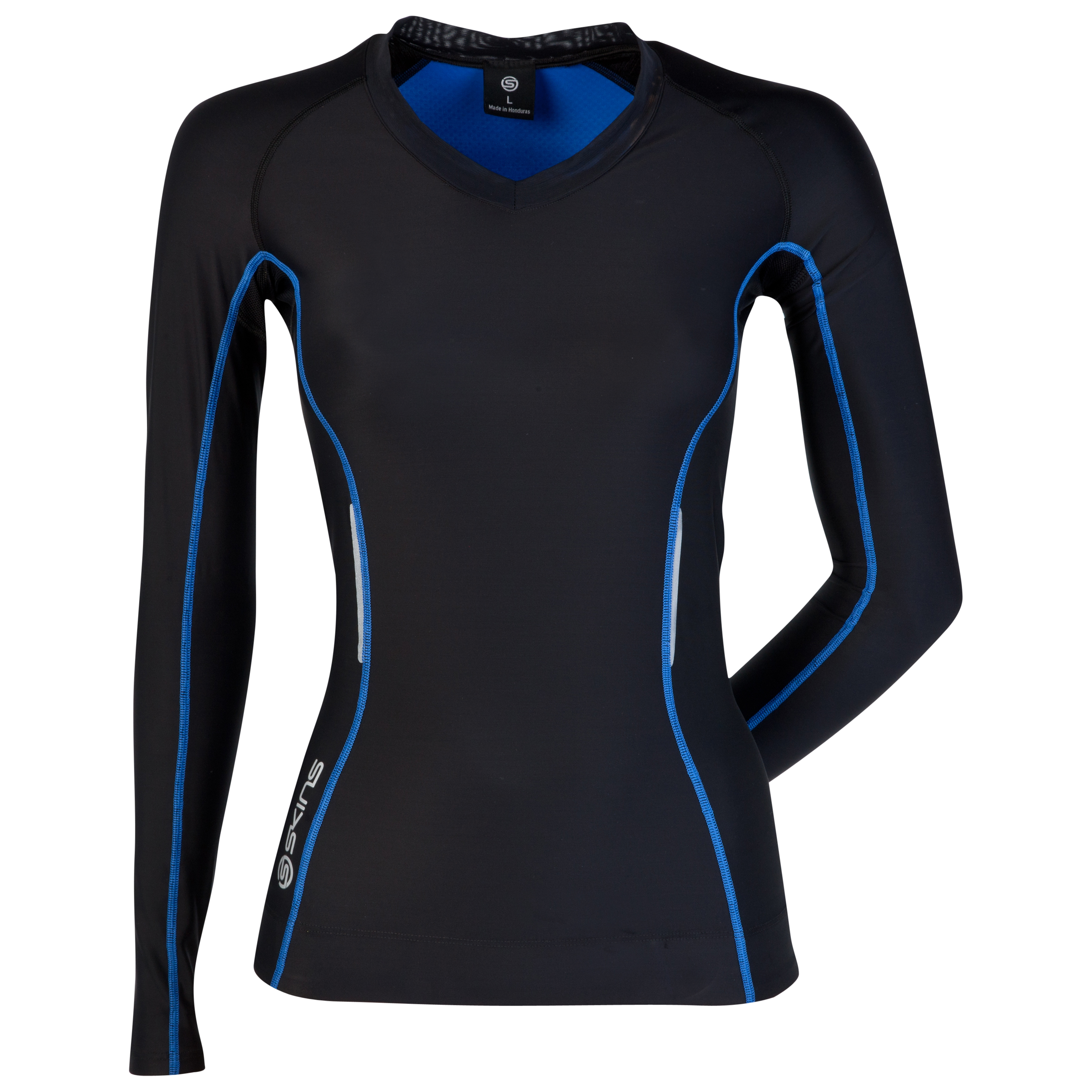 Skins A200 Long Sleeve Top - Black/Blue - Womens