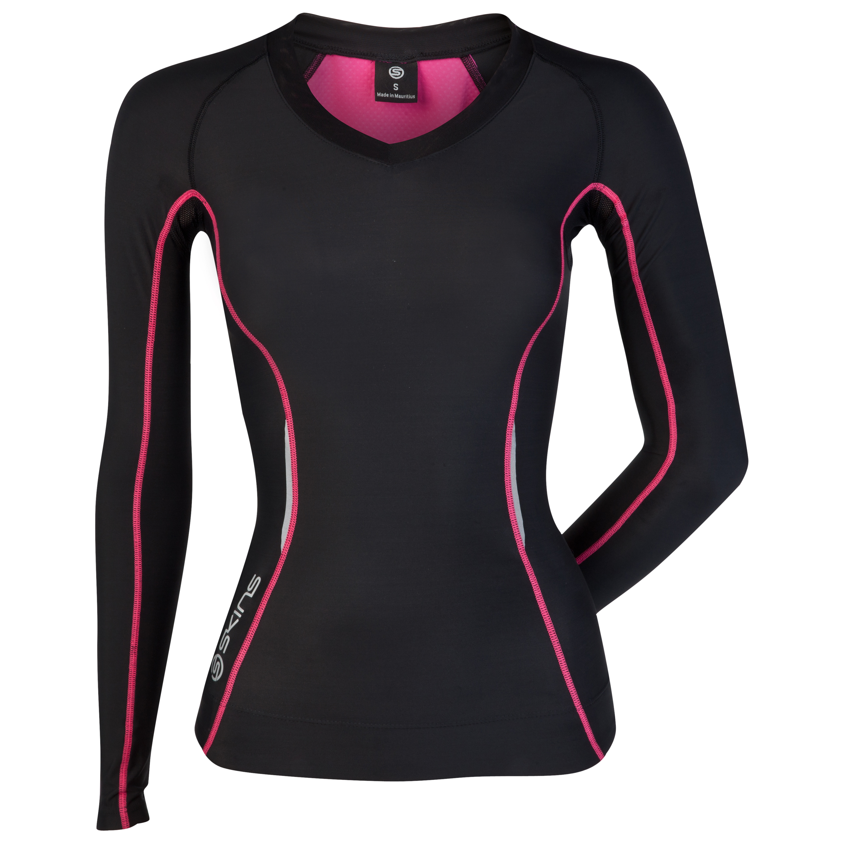 Skins A200 Long Sleeve Top - Black/Pink - Womens