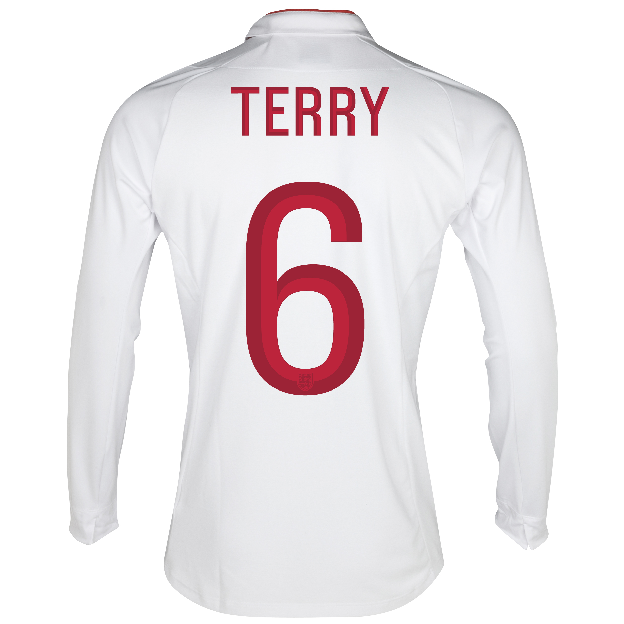 England Home Shirt 2012/13 - Long Sleeve - Boys with Terry 6 printing