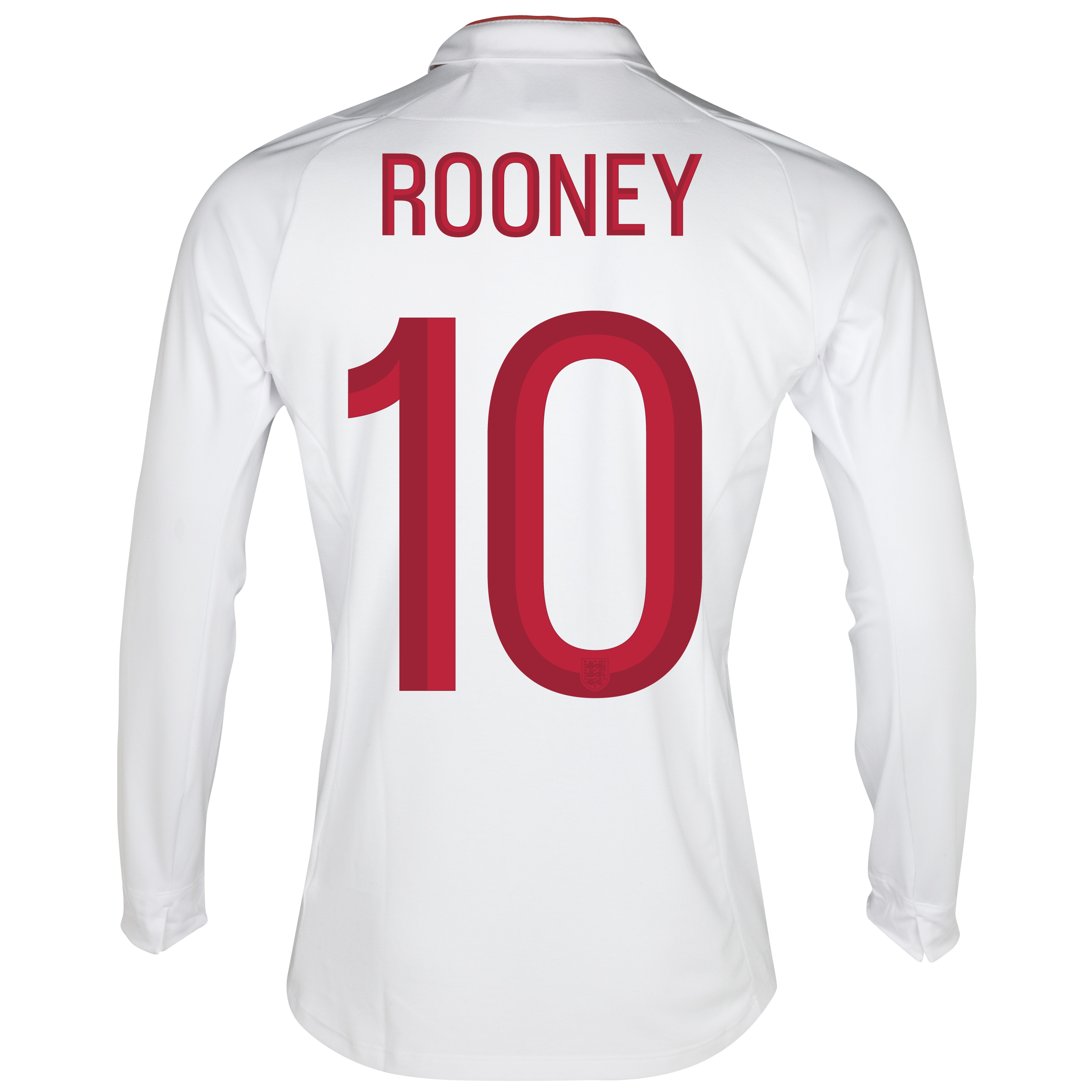 England Home Shirt 2012/13 - Long Sleeve - Boys with Rooney 10 printing