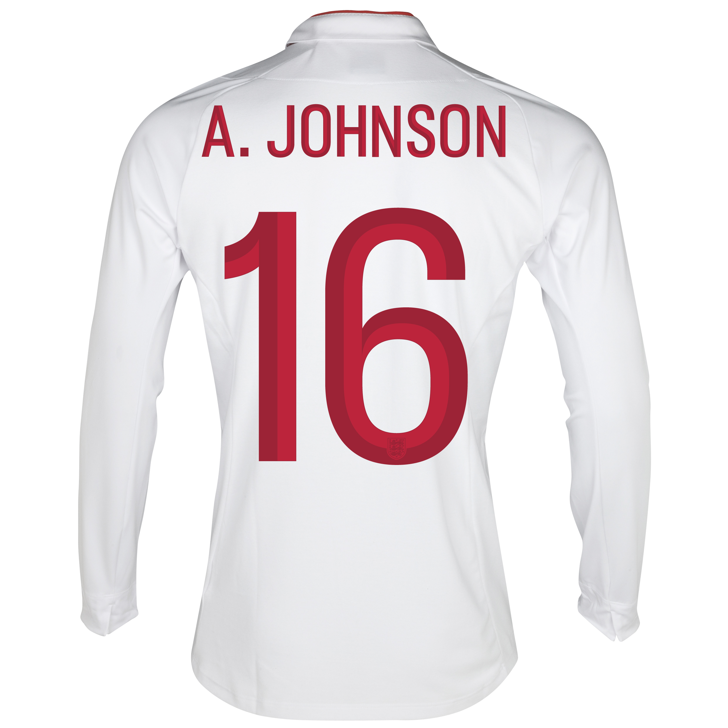 England Home Shirt 2012/13 - Long Sleeve - Boys with A.Johnson 16 printing