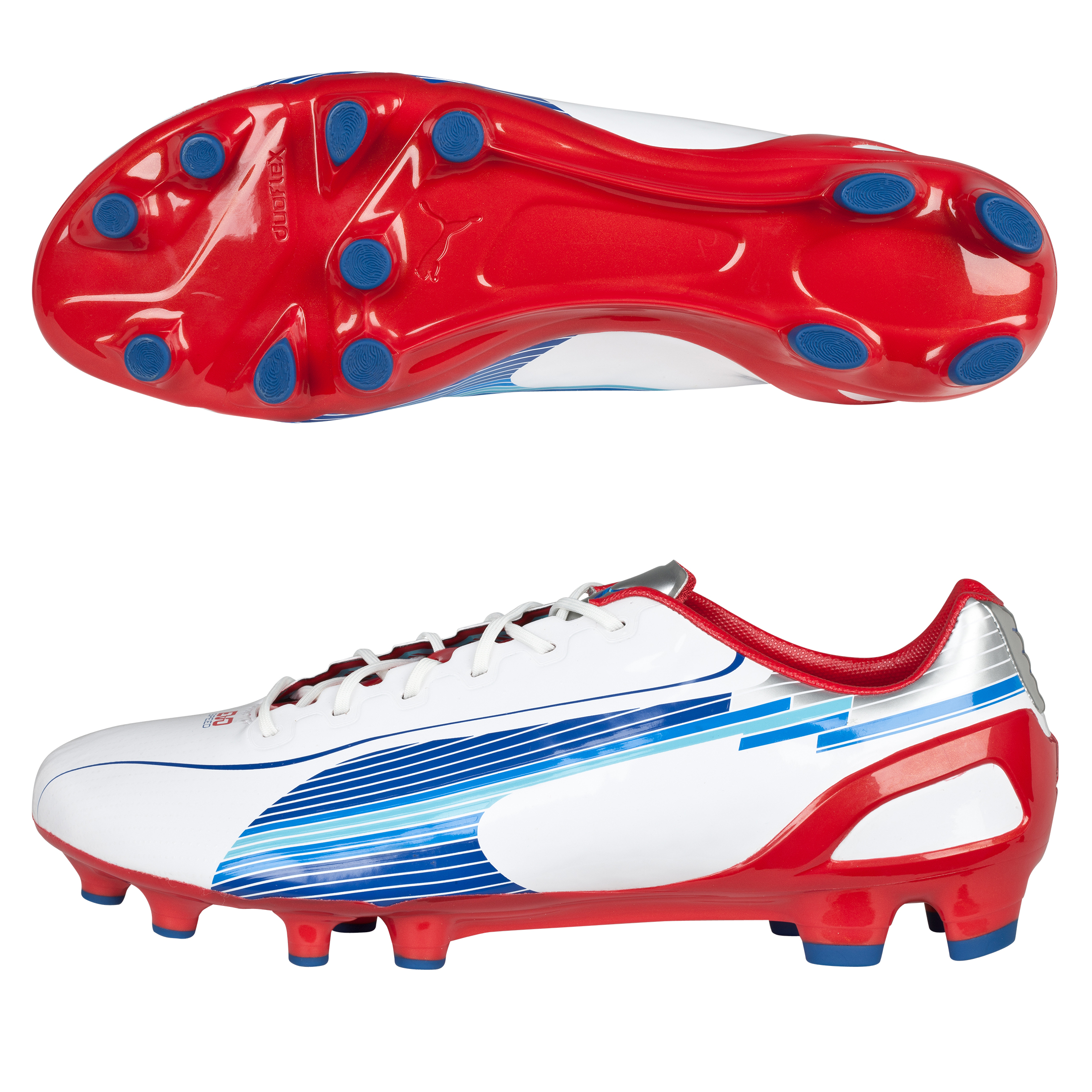 Puma Evospeed 1 Firm Ground Football Boots - White-Limoges-Ribbon Red