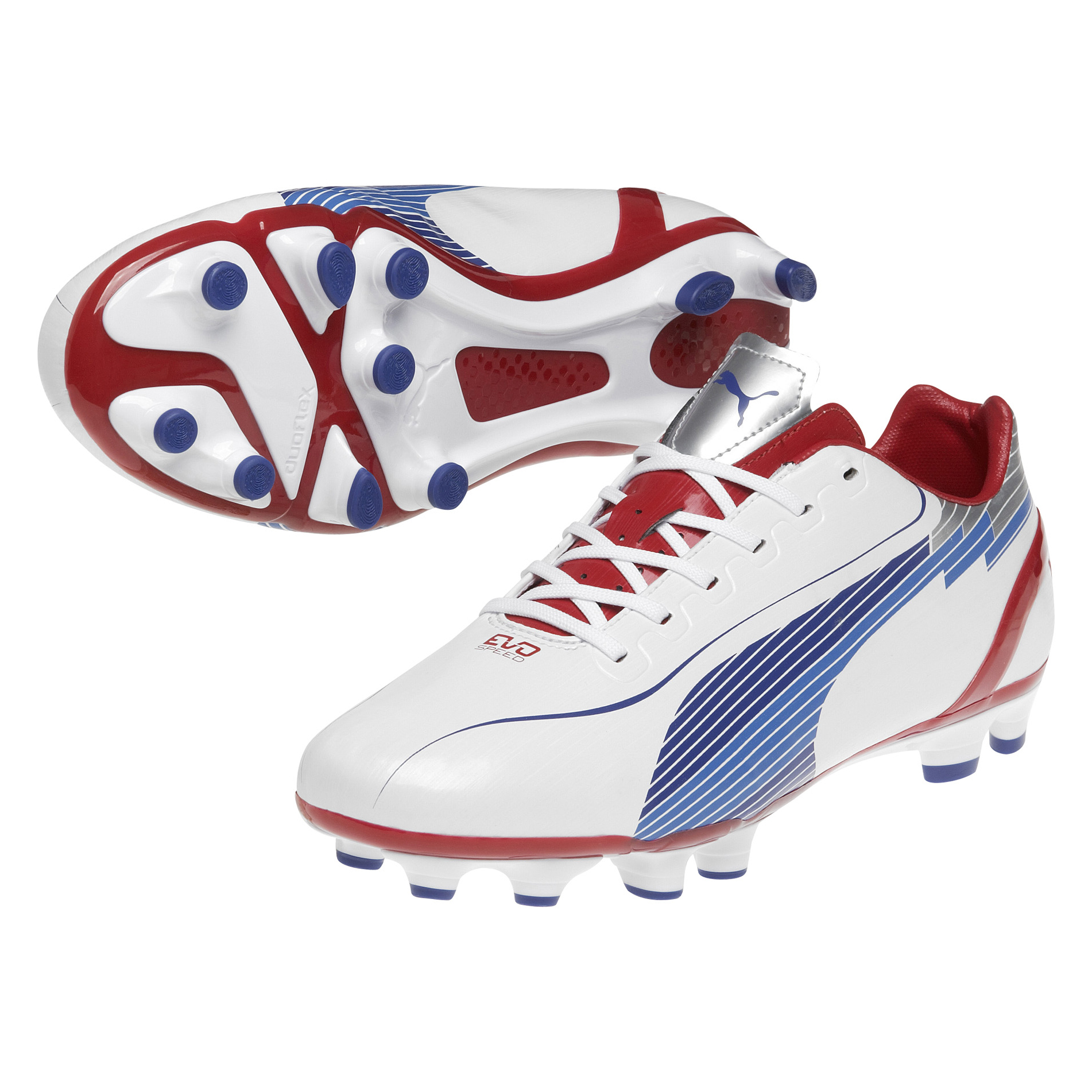 Puma Evospeed 4 Firm Ground Football Boots - White-Limoges-Ribbon Red
