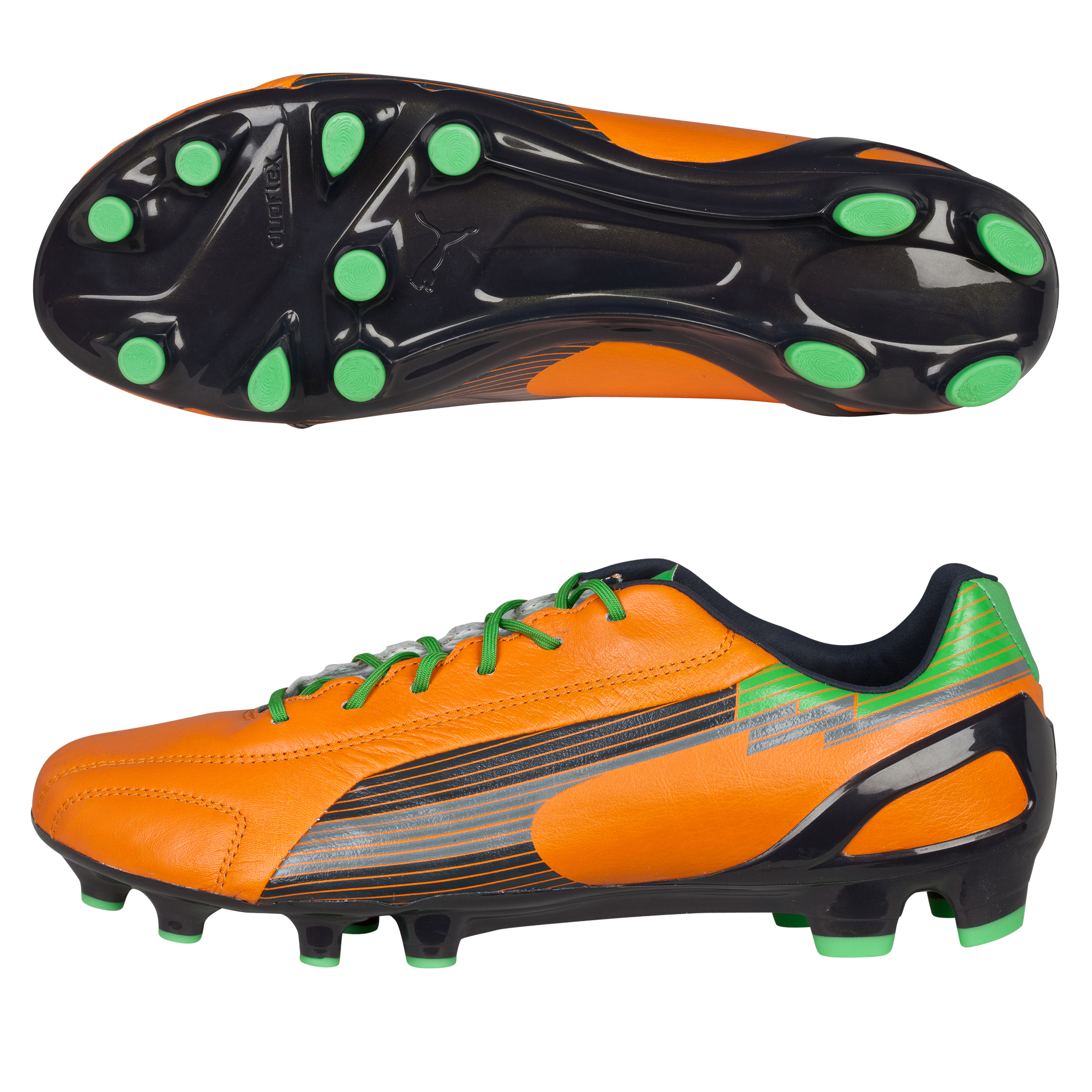 Puma Evospeed 1 Leather Firm Ground Football Boots - Flame Orange/Team Charcoal/Classic Green