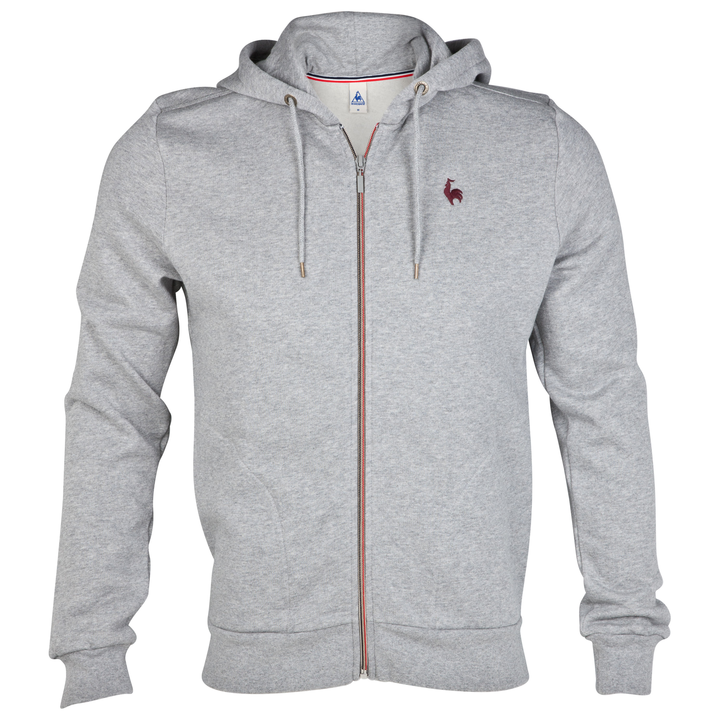 Le Coq Sportif Full Zip Hooded Sweatshirt - Light Heather Grey