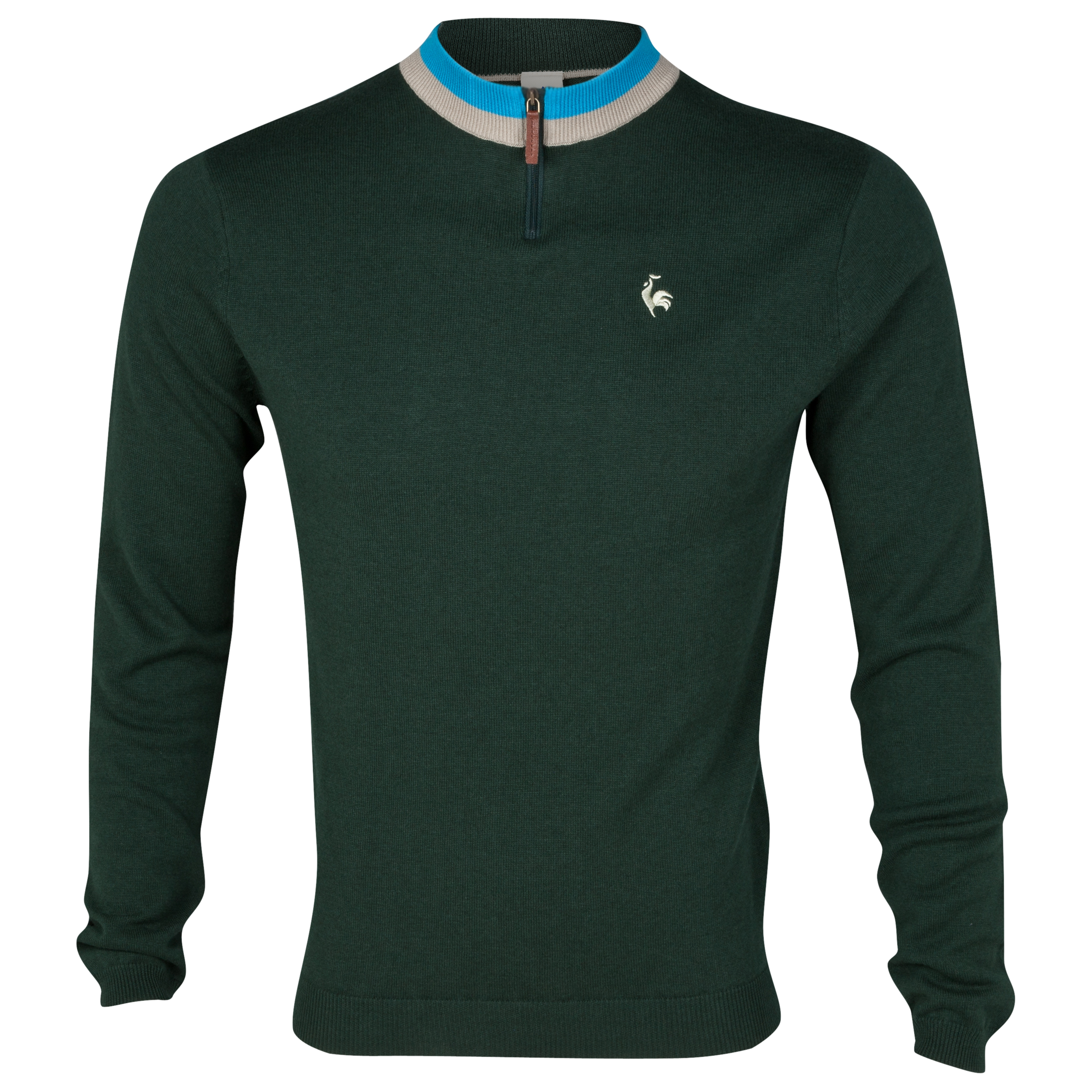 Le Coq Sportif  Pull Over Zip Knit - Green Court