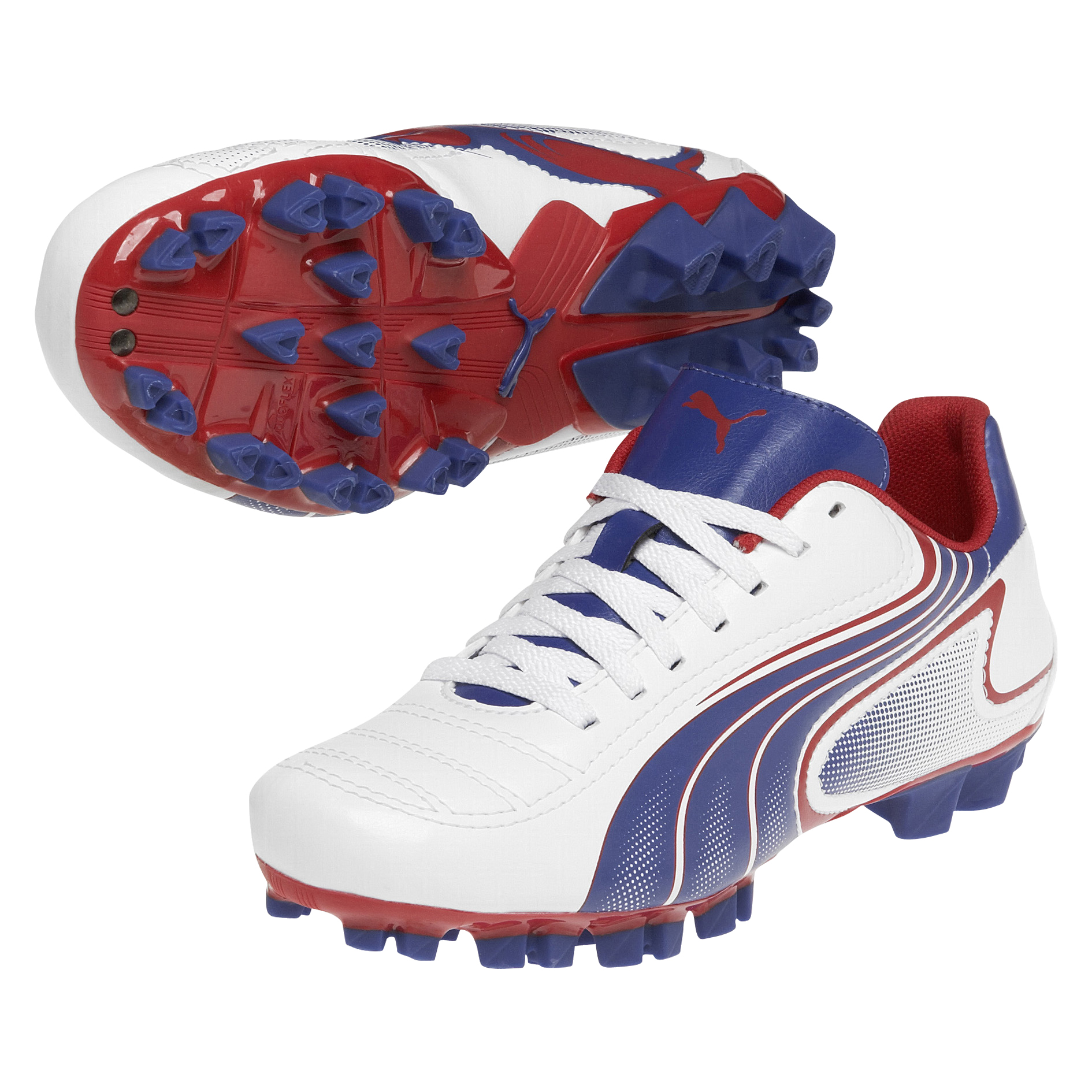 Puma Powercat V6.11 Firm Ground Football Boots  -Kids - White-Limoges-Ribbon Red