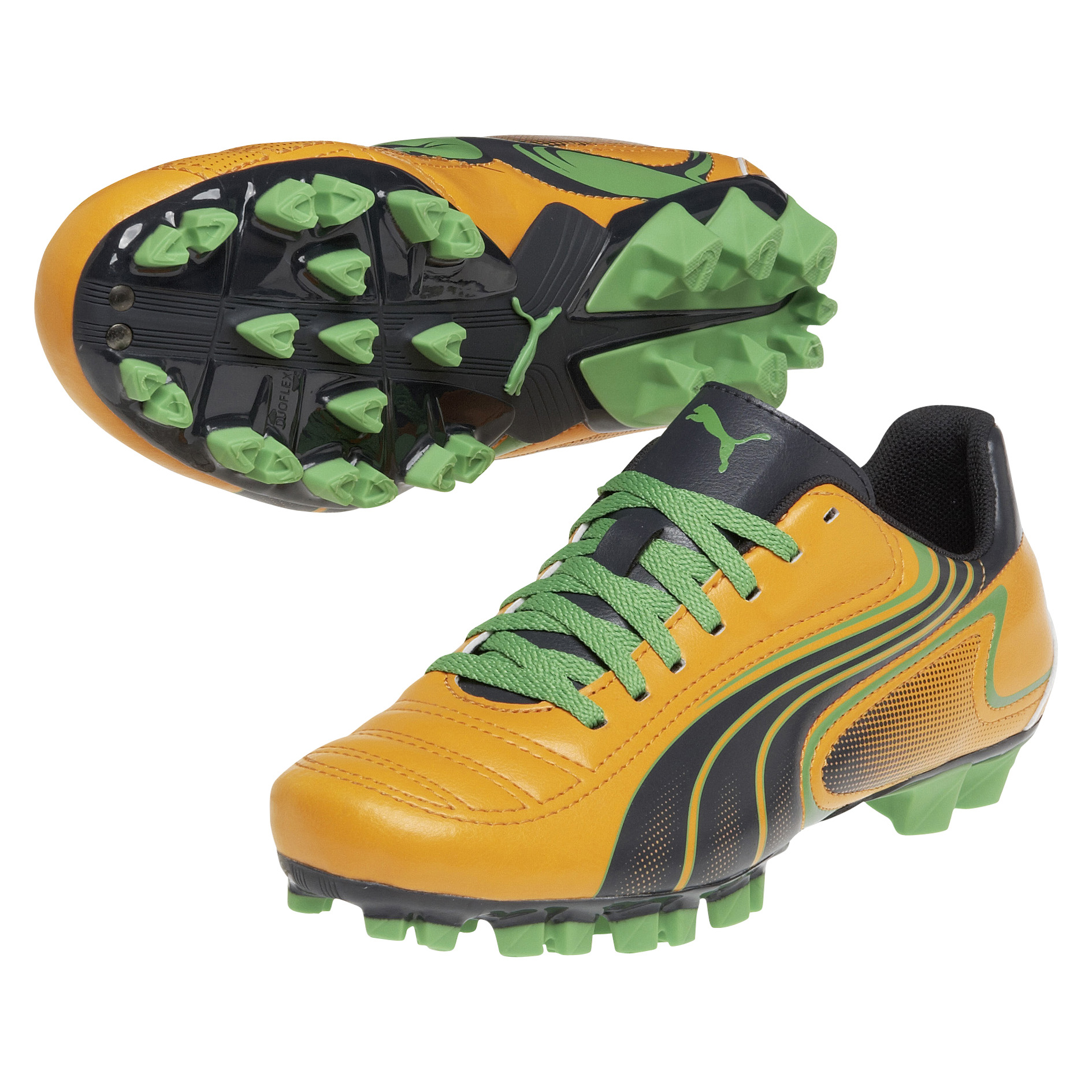 Puma Powercat V6.11 Firm Ground Football Boots  -Kids - Flame Orange/Team Charcoal/Classic Green