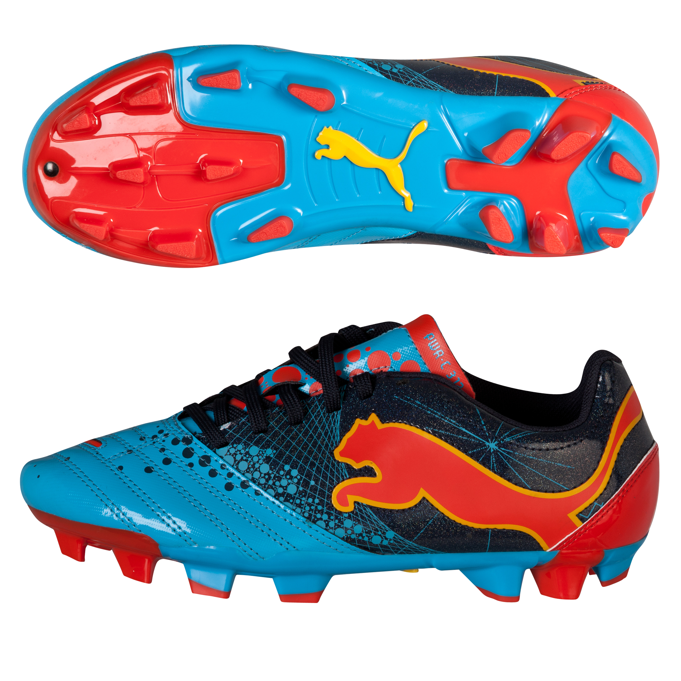 Puma PowerCat 3.12 Firm Ground Football Boots - Kids - Fluo Blue/New Navy/Orange/Team Yellow