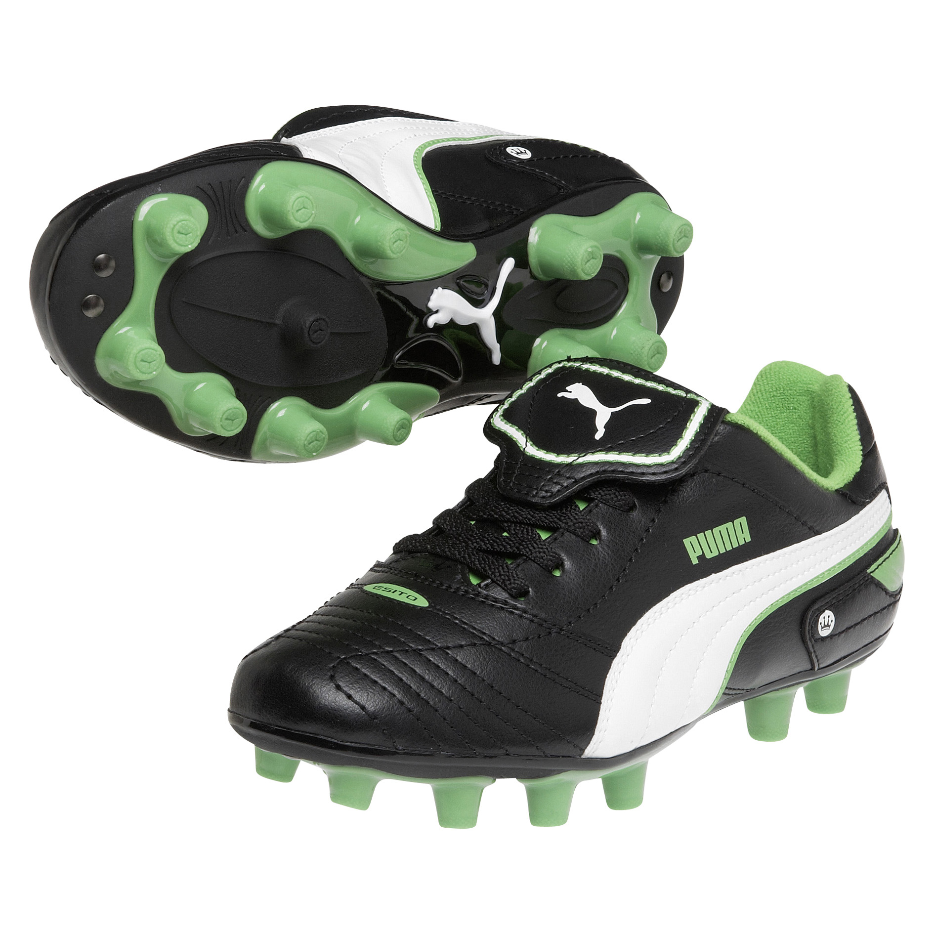 Puma Esito Finale Firm Ground Football Boots - Kids - Black/White/Fluo Green