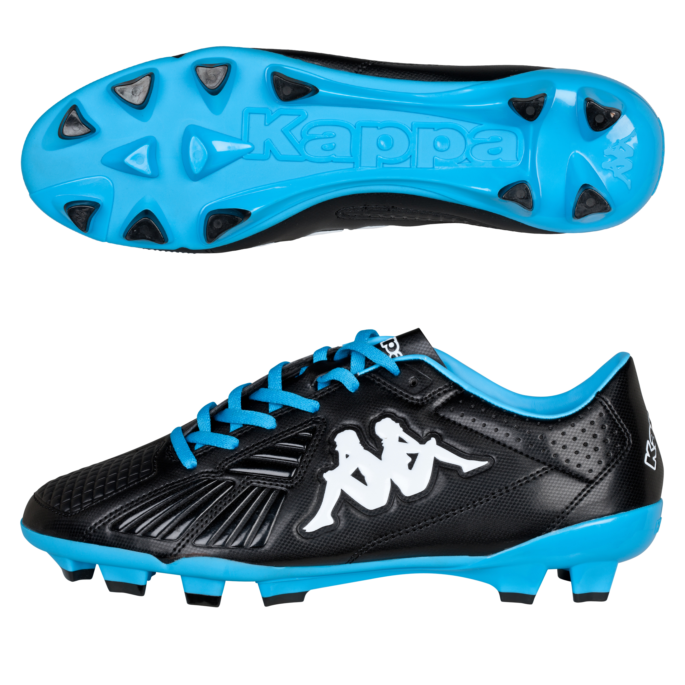 Kappa Starch Firm Ground Football Boots - Black/Cyan