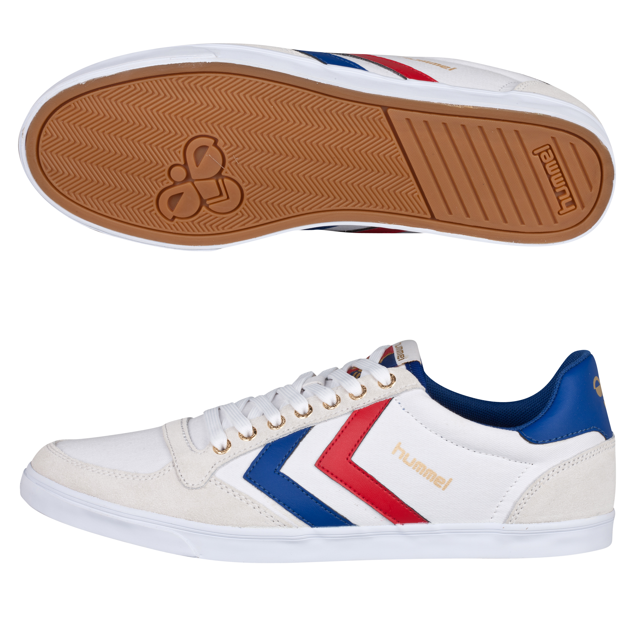 Hummel Slimmer Stadil Low Canvas Trainers - White/Limoges Blue/Ribbon Red