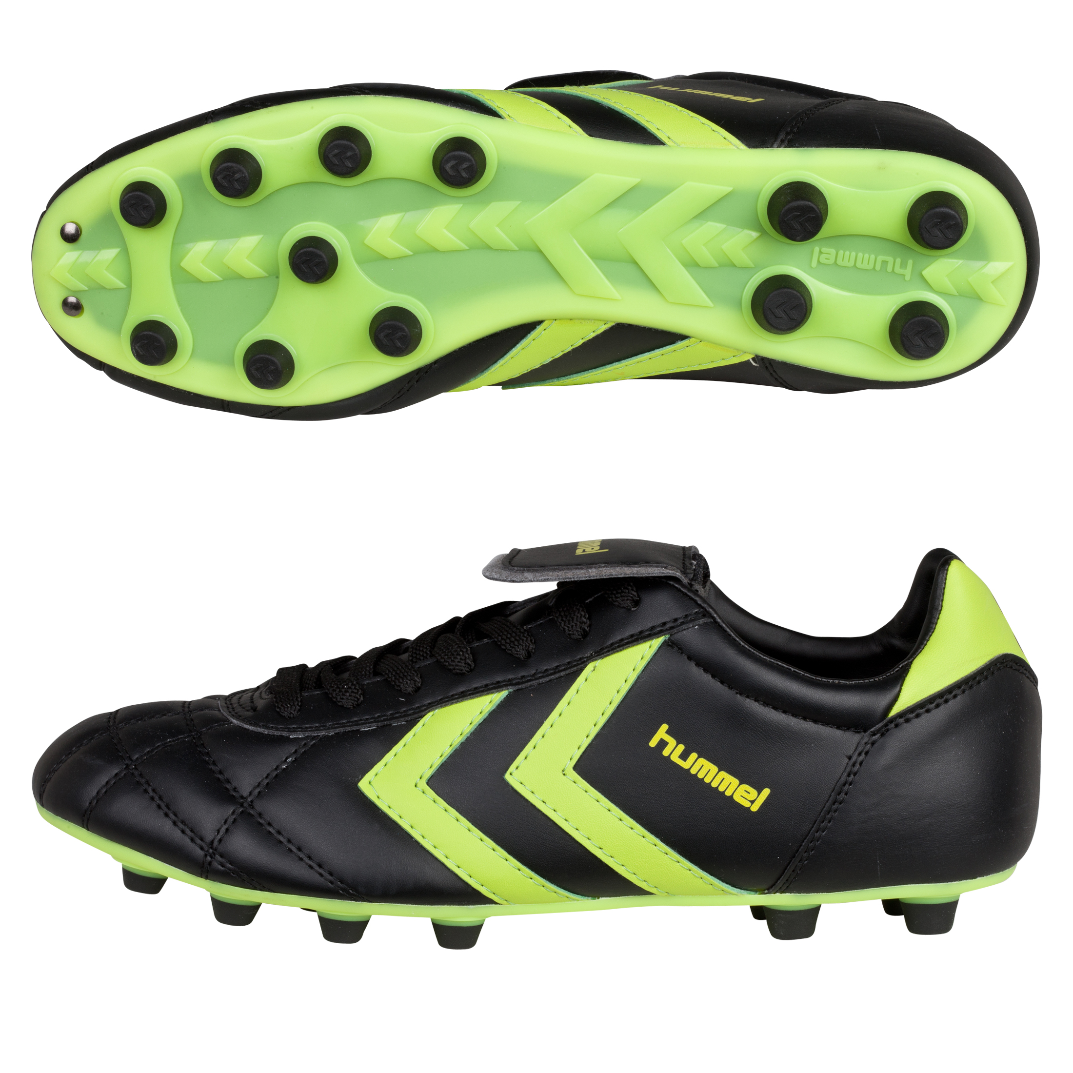 Hummel Old School Star Synthetic Firm Ground Football Boots - Black/Neon