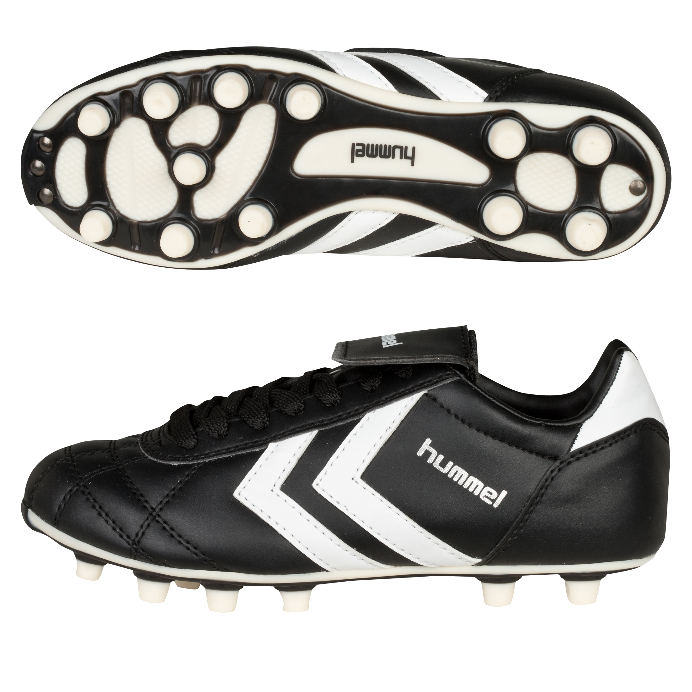 Hummel Star Synthetic Firm Ground Football Boots - Black/White - Kids