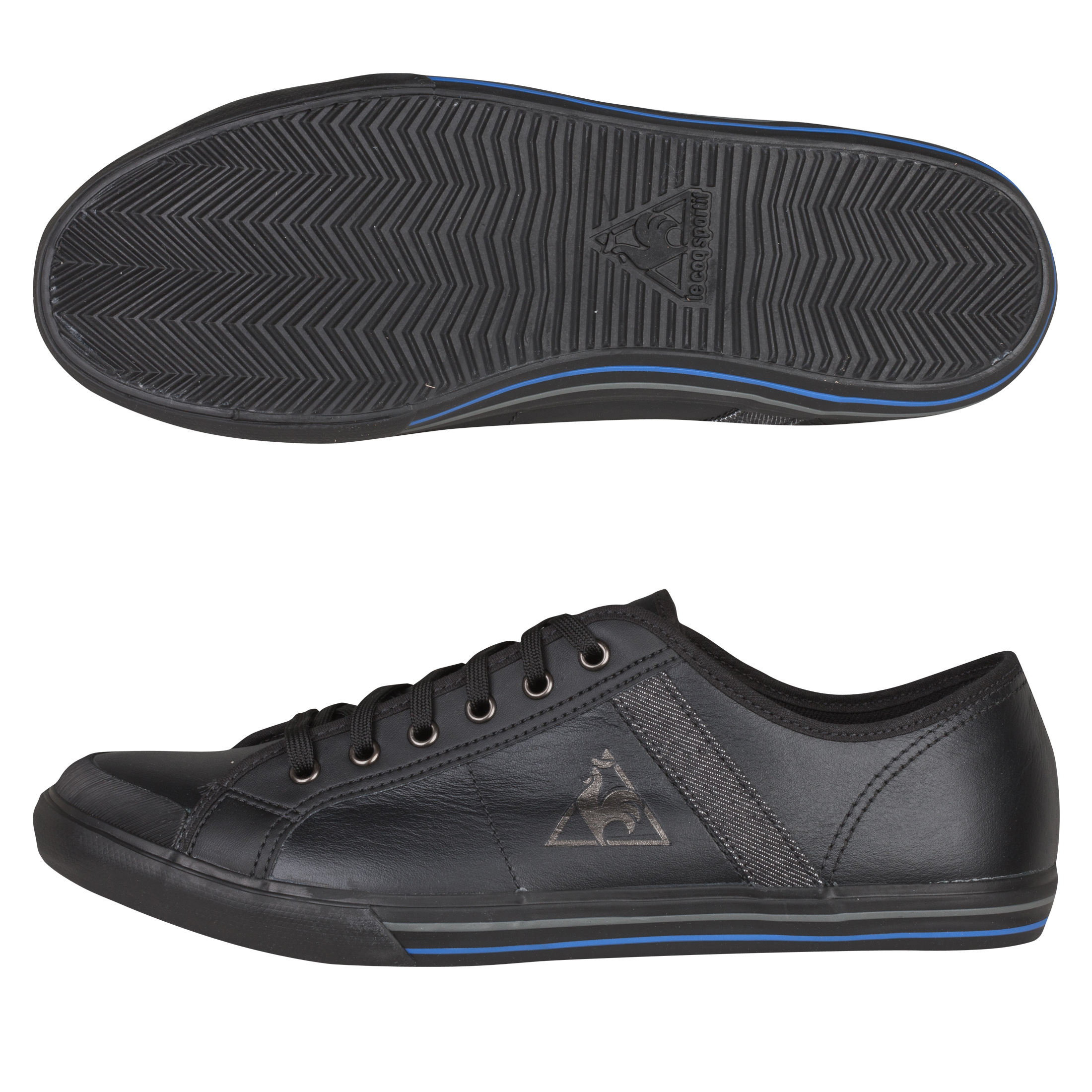 Le Coq Sportif Saint Malo Leather/Denim Trainers - Black