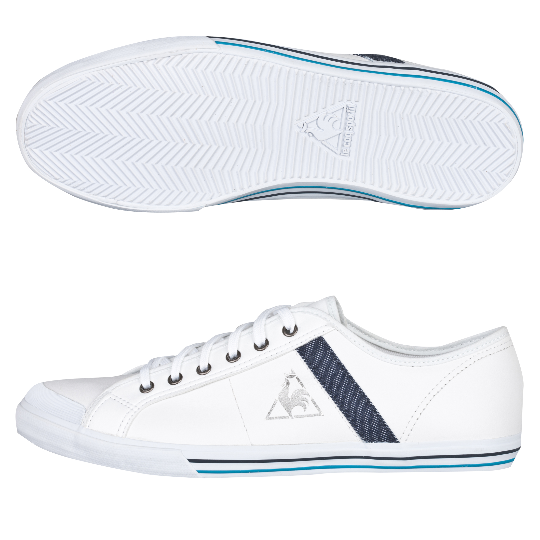 Le Coq Sportif Saint Malo Leather/Denim Trainers - White