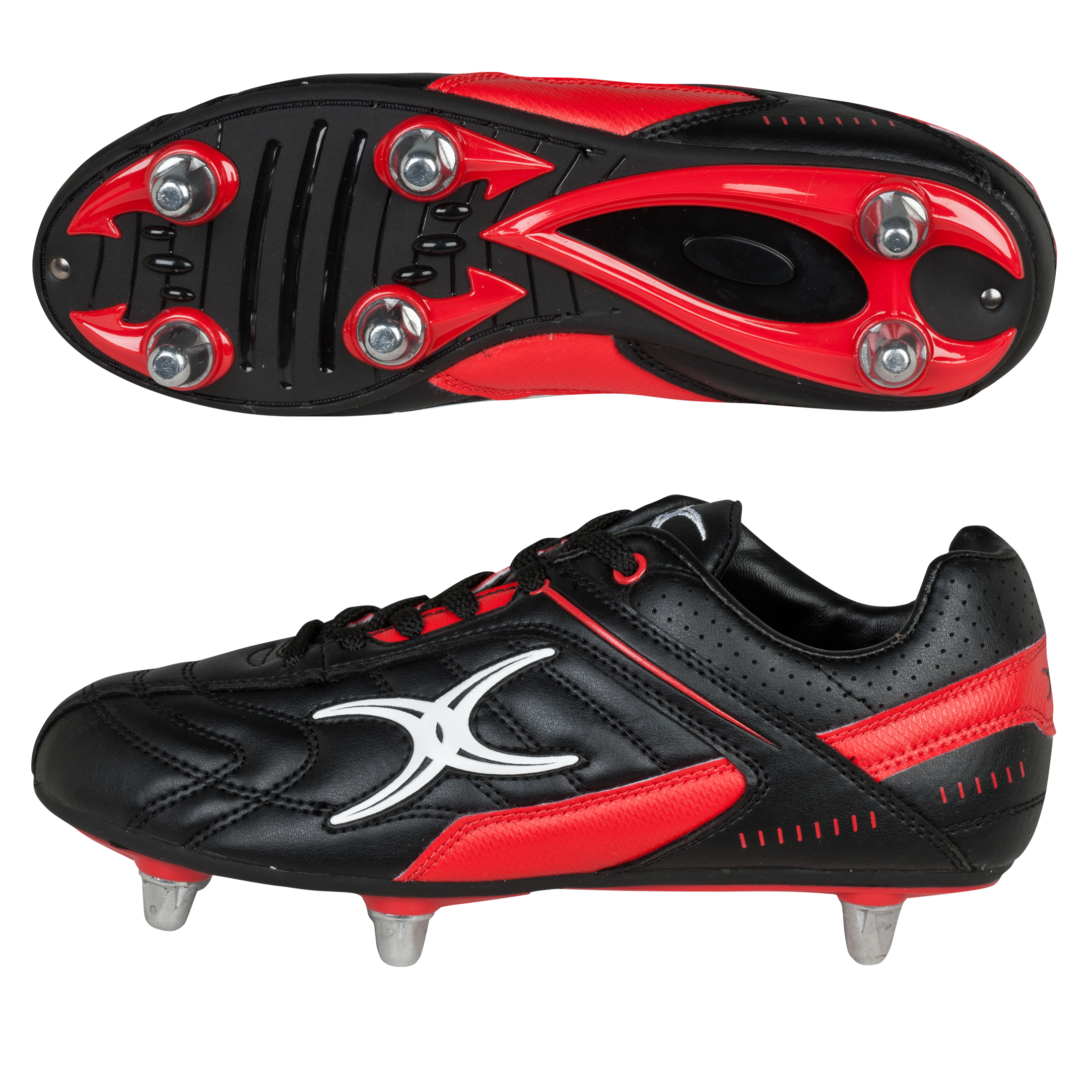 Gilbert Sidestep Barbarian Rugby Boots - Black/Red - Kids