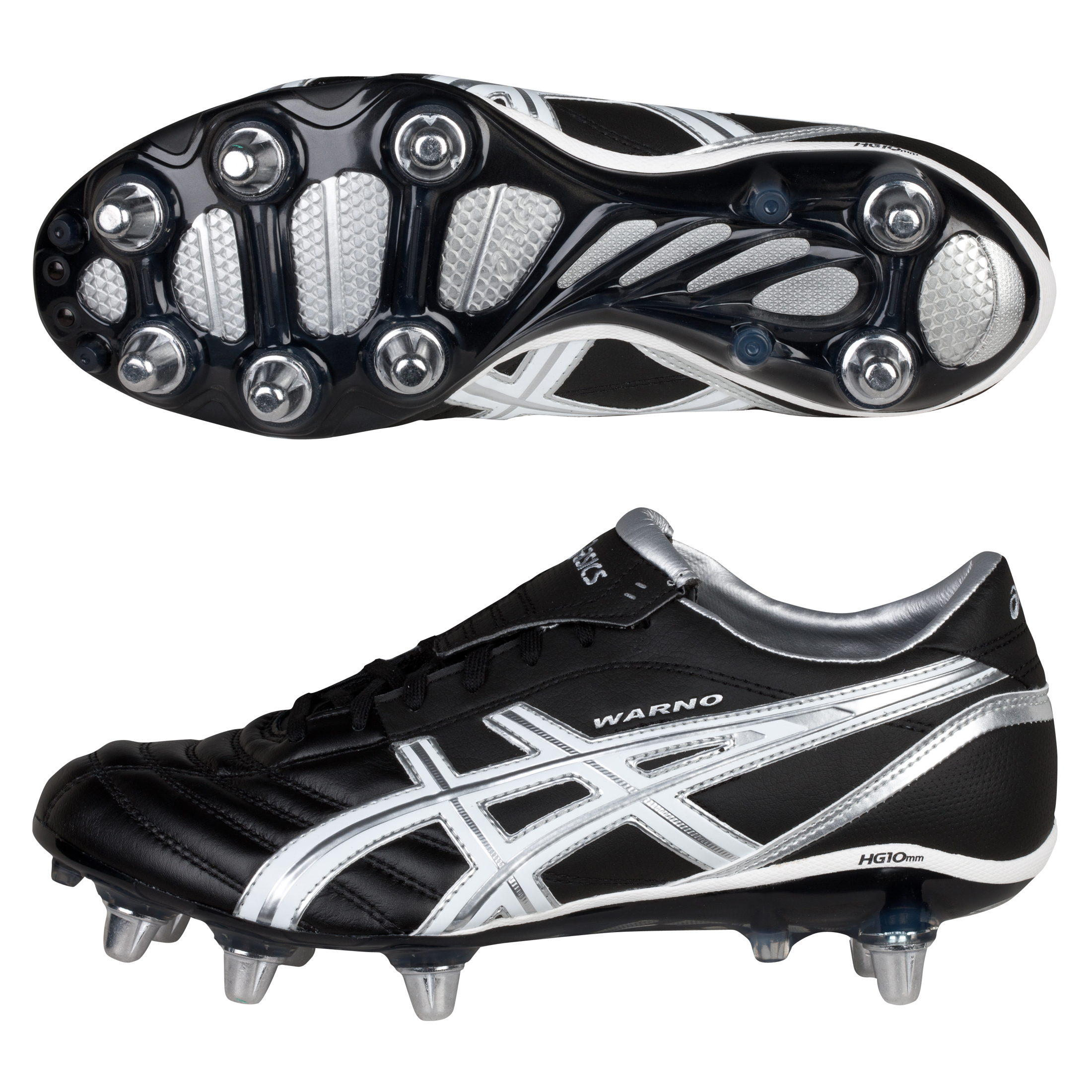 Asics Lethal Warno 2 Soft Ground Rugby Boots - Black/White/Silver
