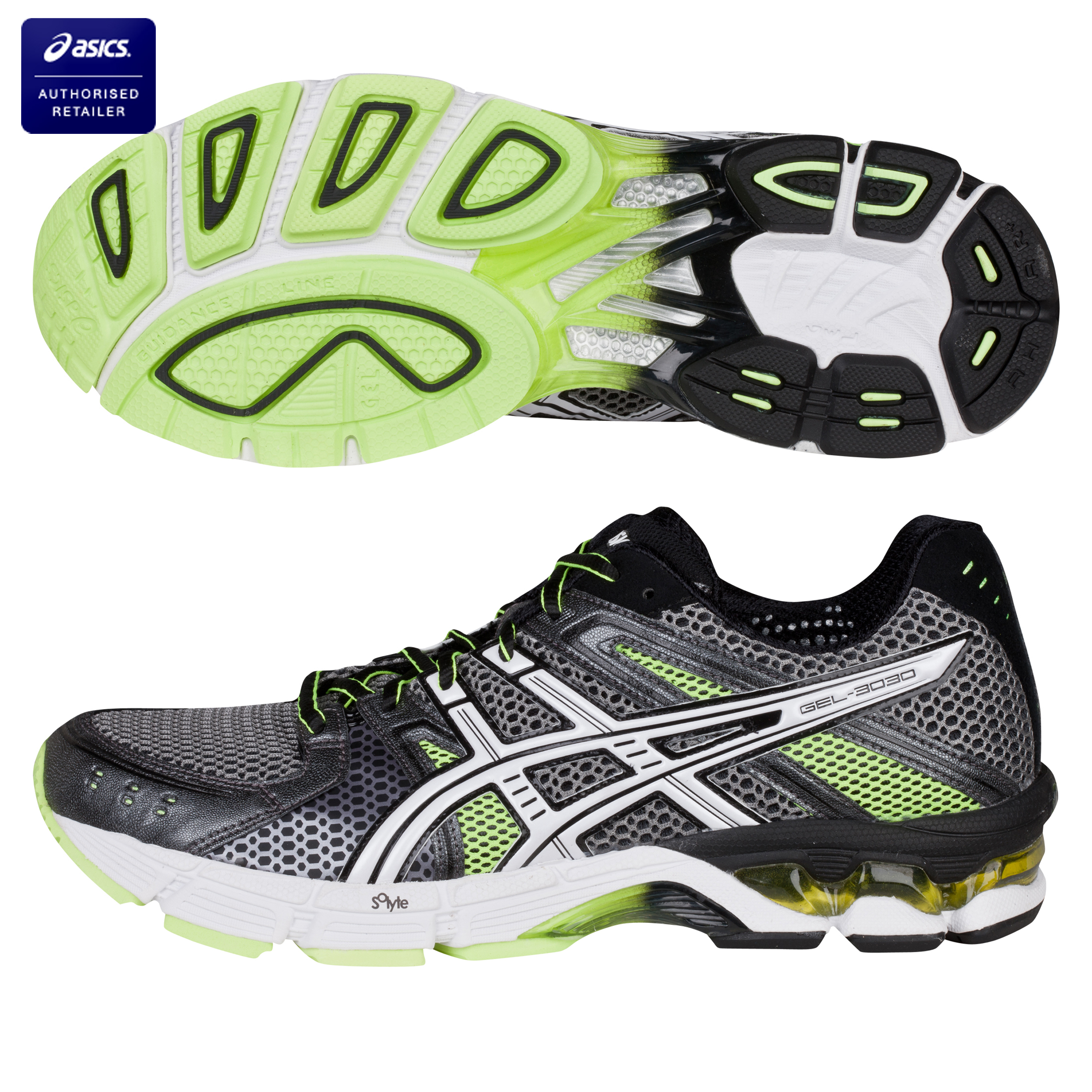 Asics Gel-3030 Running Trainers - Titanium/White/Neon Yellow