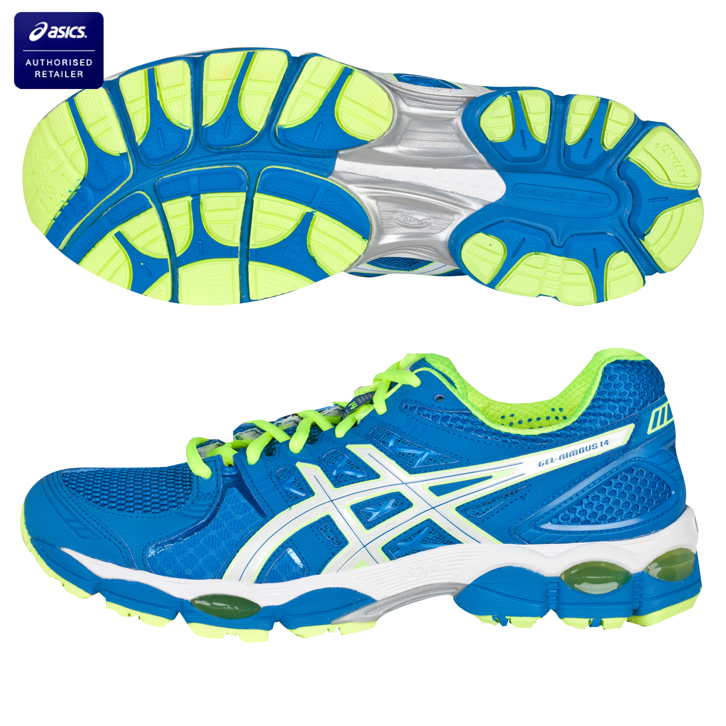 Asics Gel-Nimbus 14 Running Trainers - Blue/Pearl White/Yellow