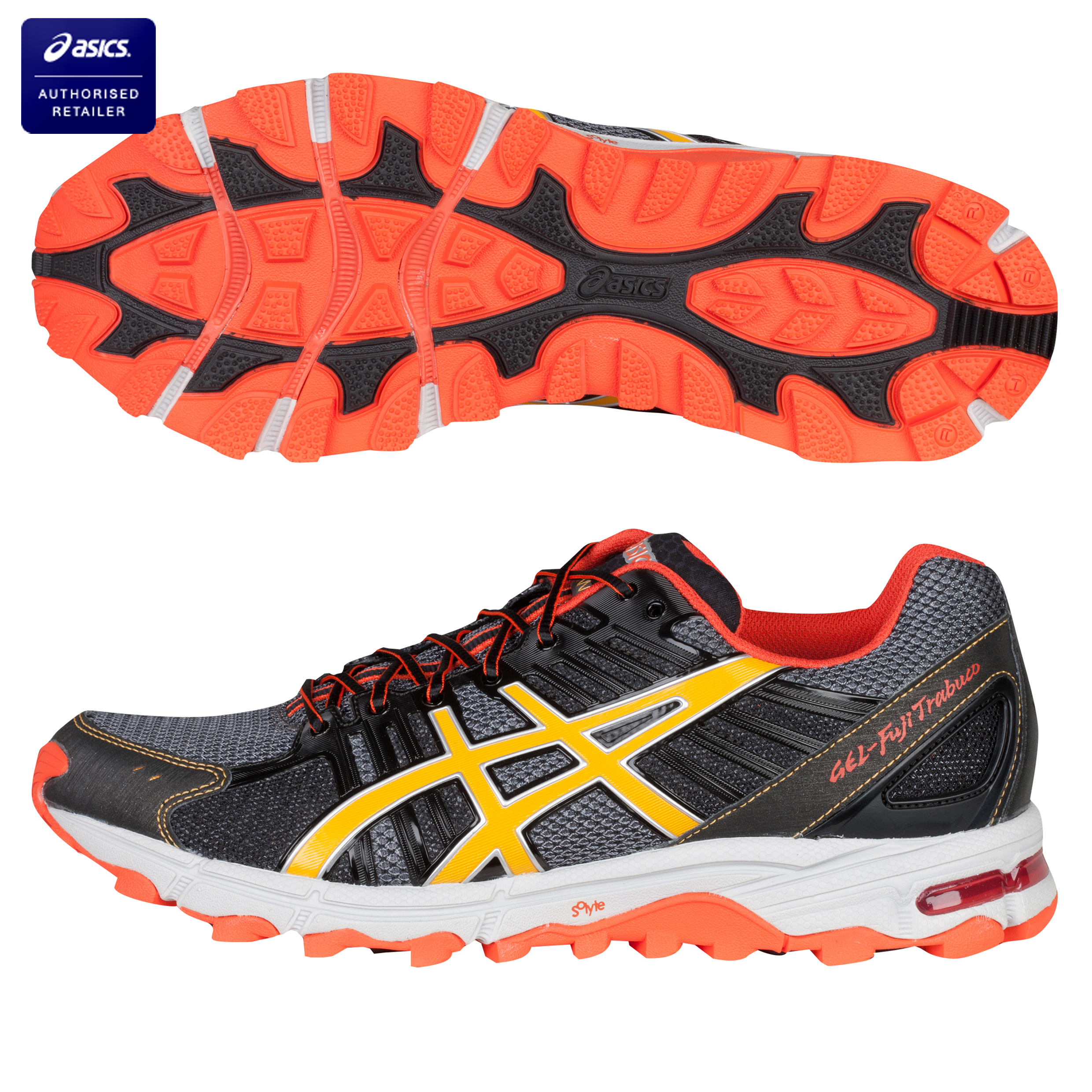 Asics Gel-Fuji Trabuco Running Trainers - Titanium/Orange/Black