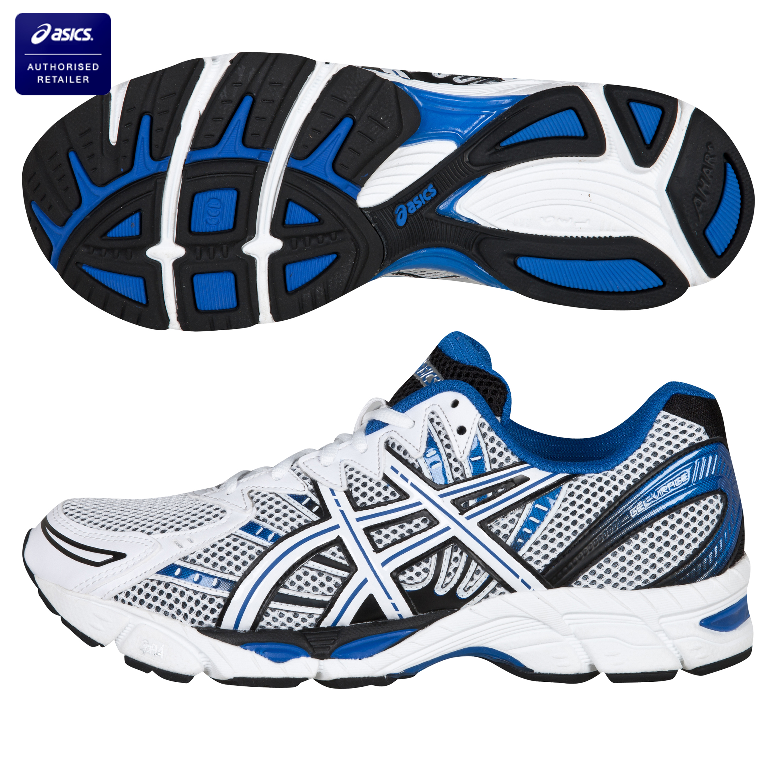 Asics Gel-Virage 6 Running Trainers - White/Black/Blue
