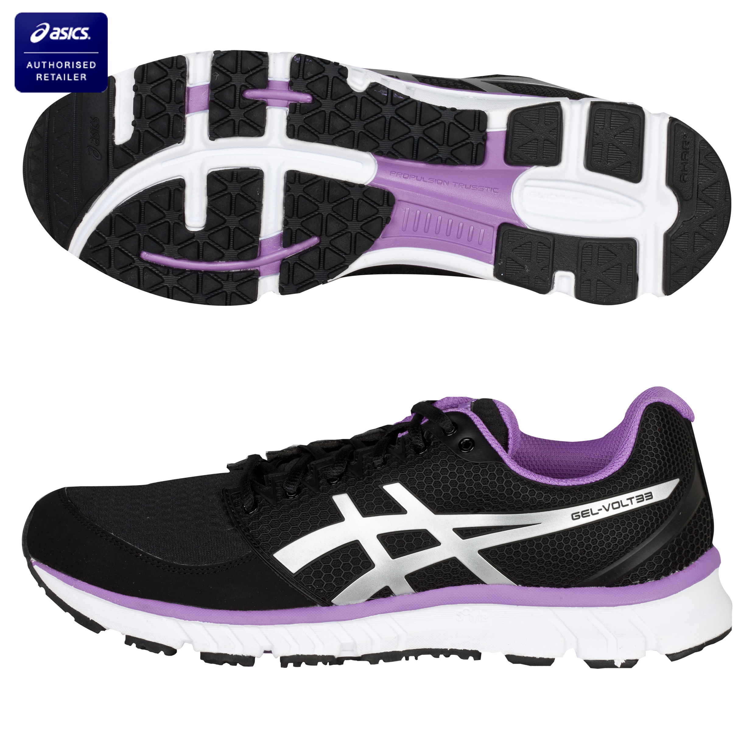 Asics Gel-Volt 33 Trainers - Black/Silver/Purple - Womens