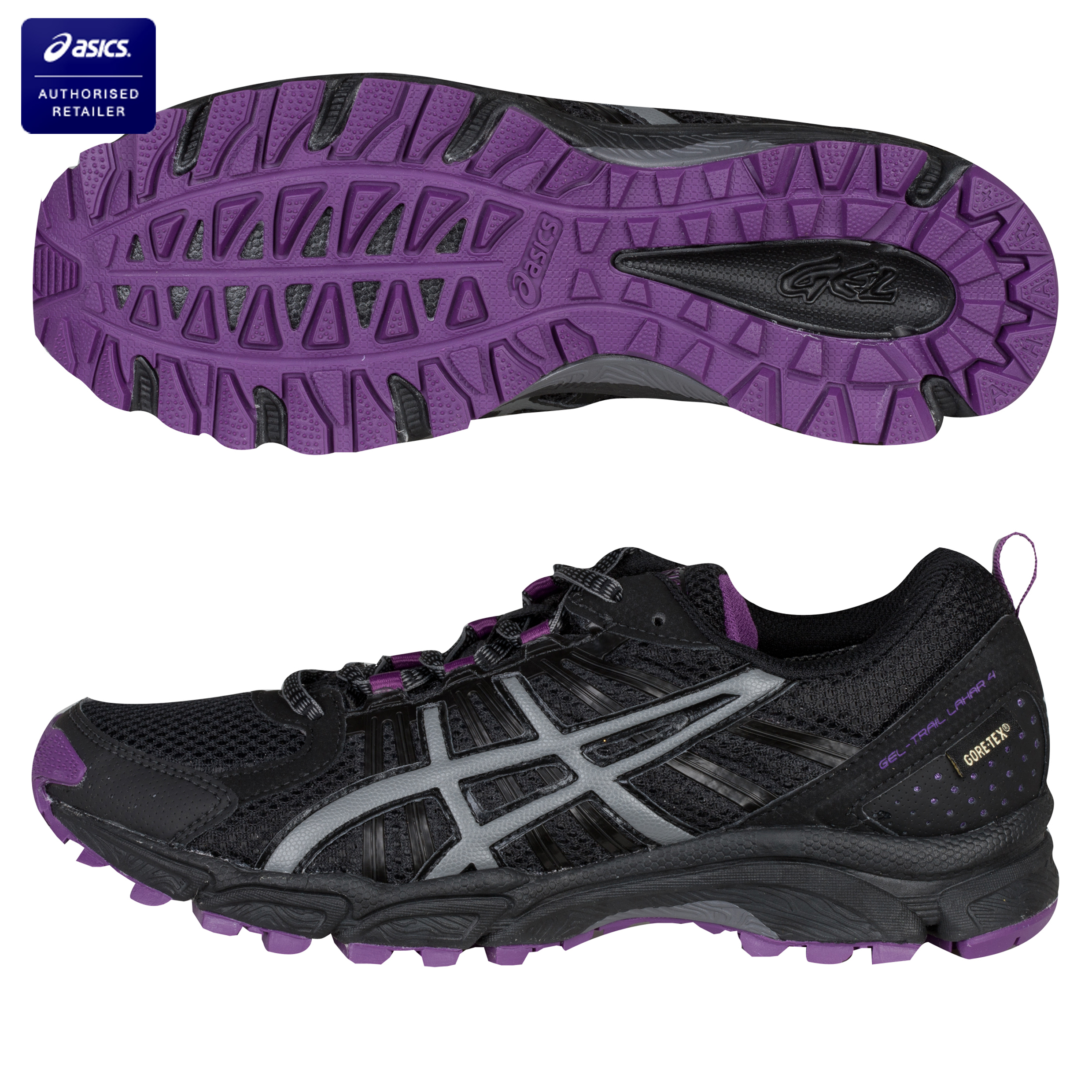 Asics Gel-Trail Lahar 4 G-TX Running Trainers - Black/Titanium/Purple - Womens