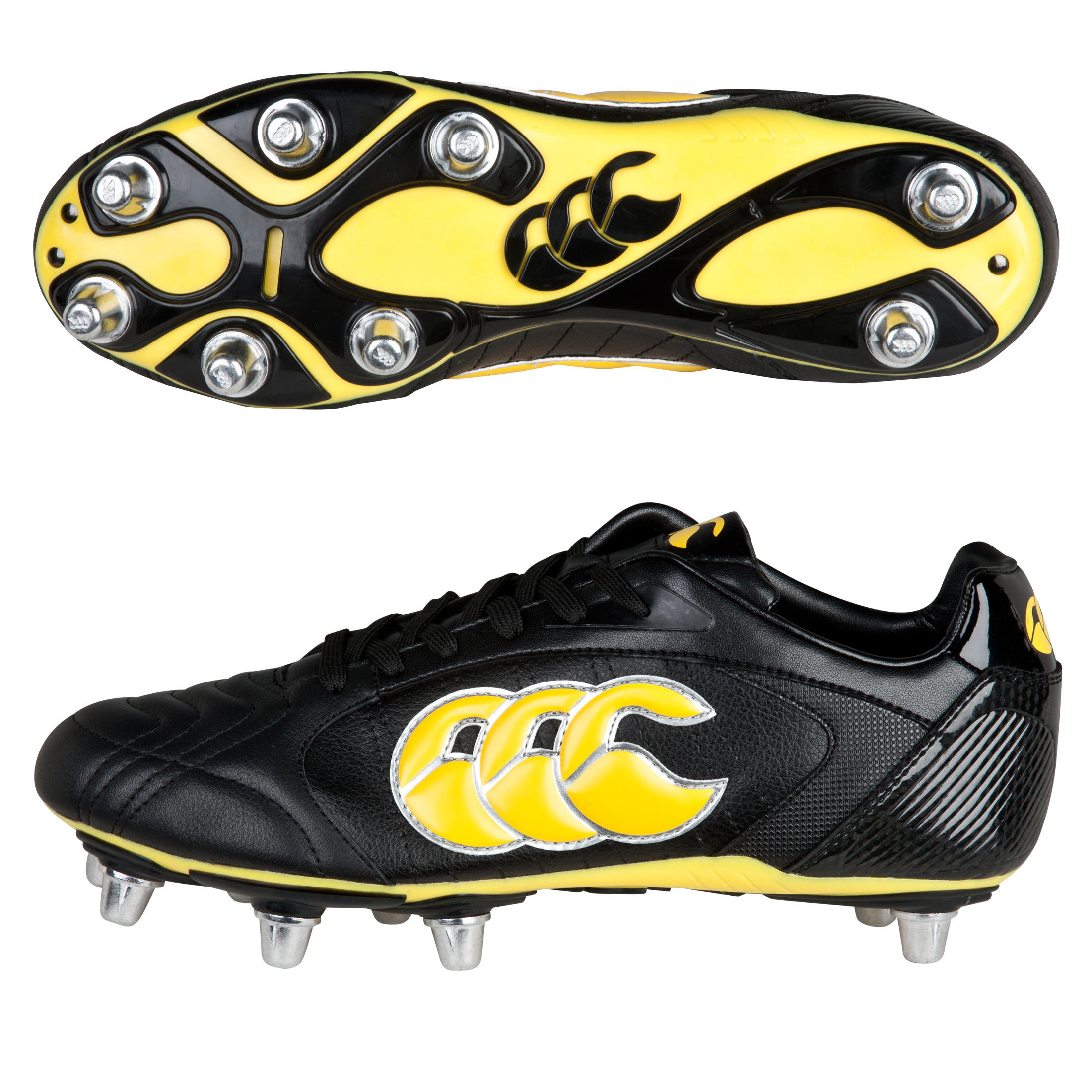 Canterbury Phoenix III Elite 8 Stud Rugby Boots - Black/Yellow/Chrome