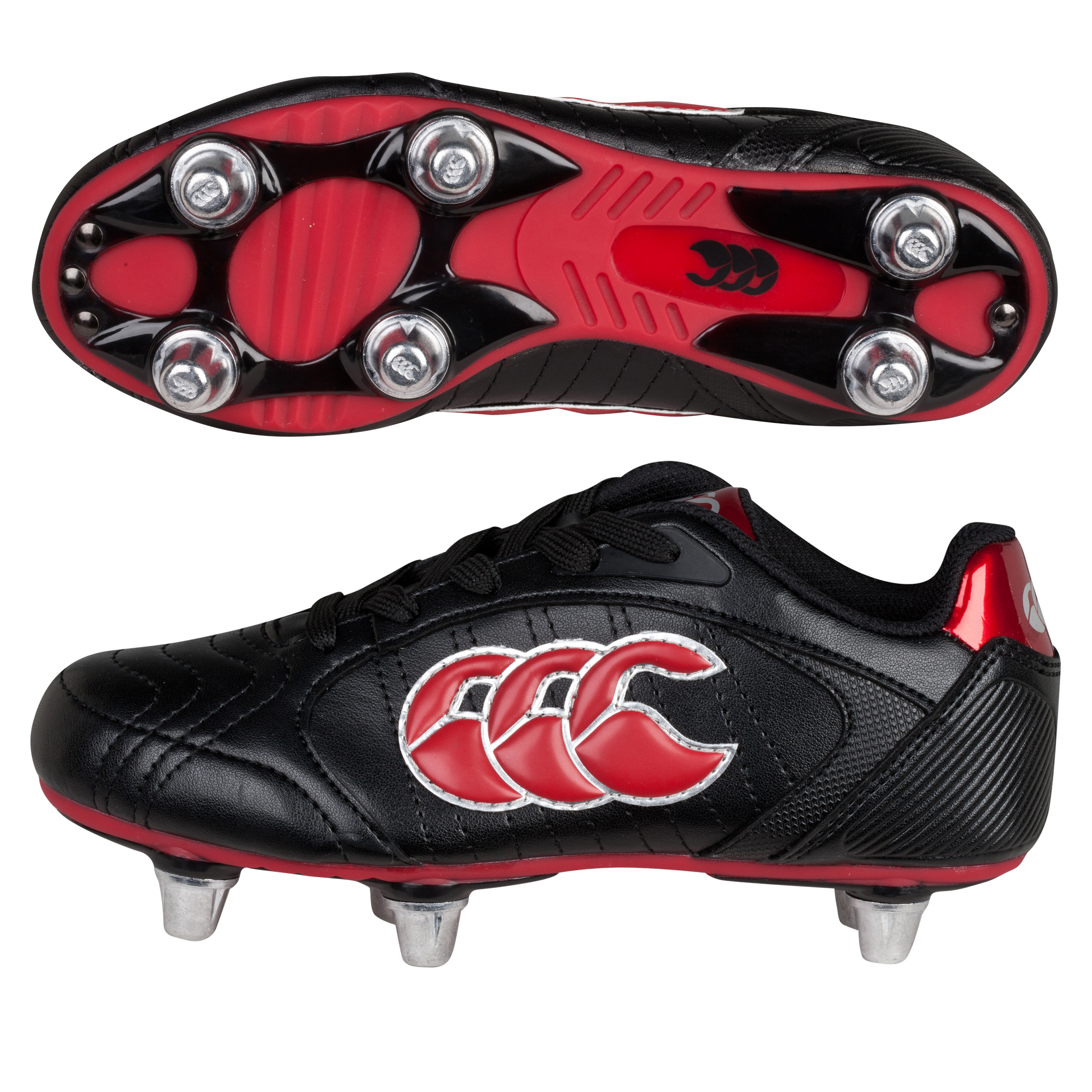 Canterbury Phoenix III Club 6 Stud Rugby Boots - Black/Red/Silver - Kids