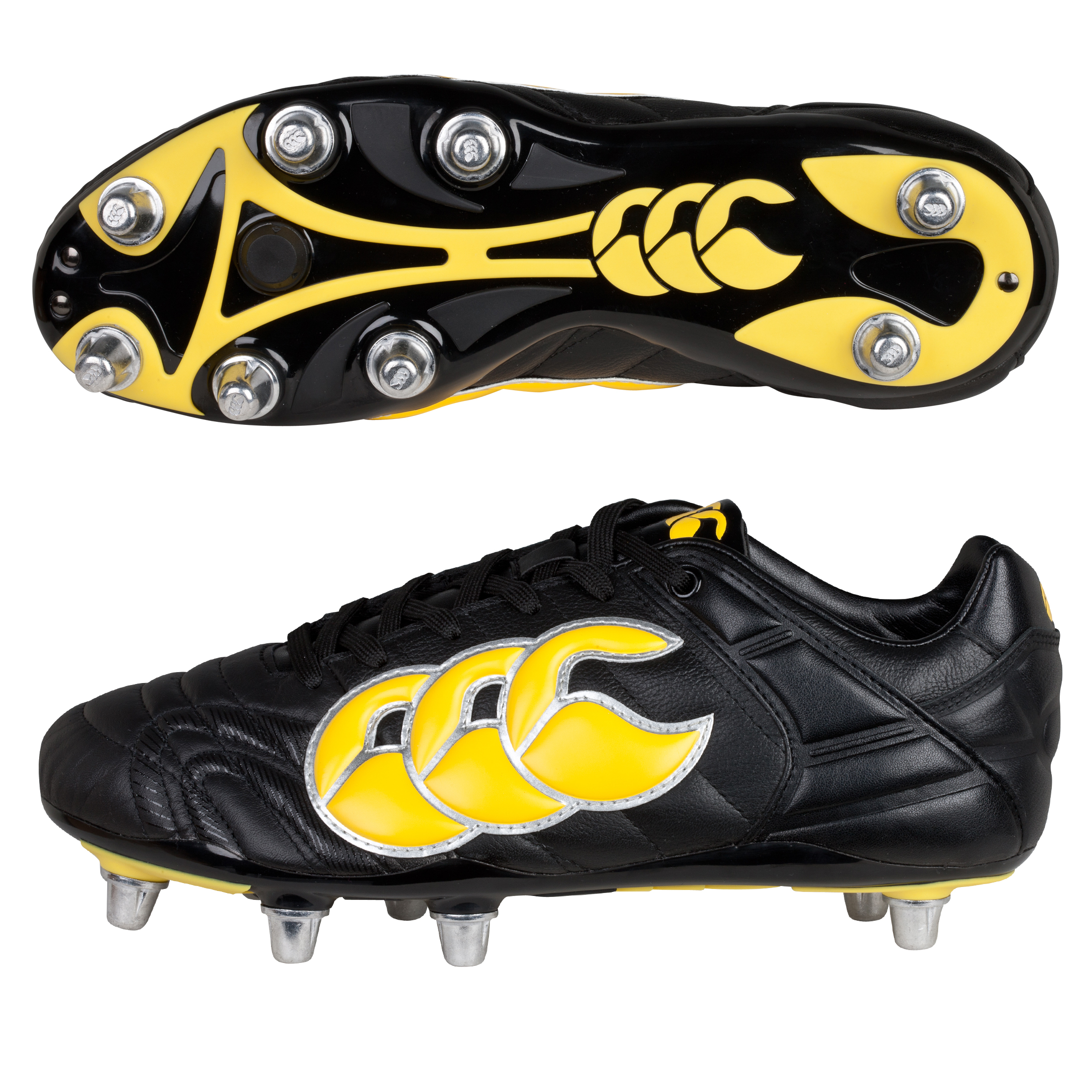 Canterbury Stampede II Elite 8 Stud Rugby Boots - Black/Yellow/Chrome