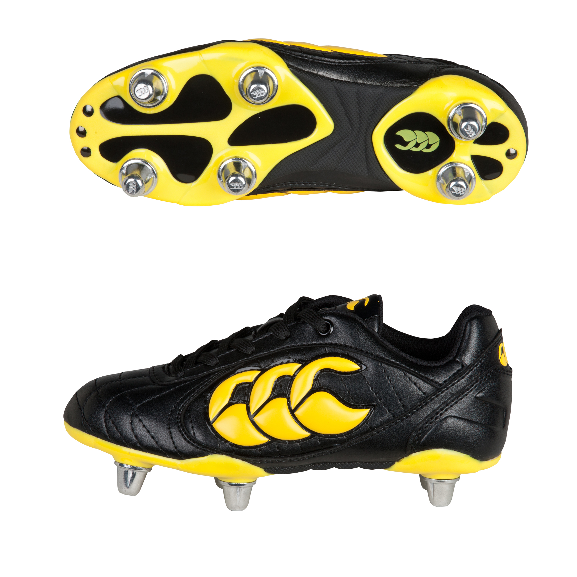 Canterbury Stampede II Club 8 Stud Rugby Boots - Black/Yellow/Black - Kids