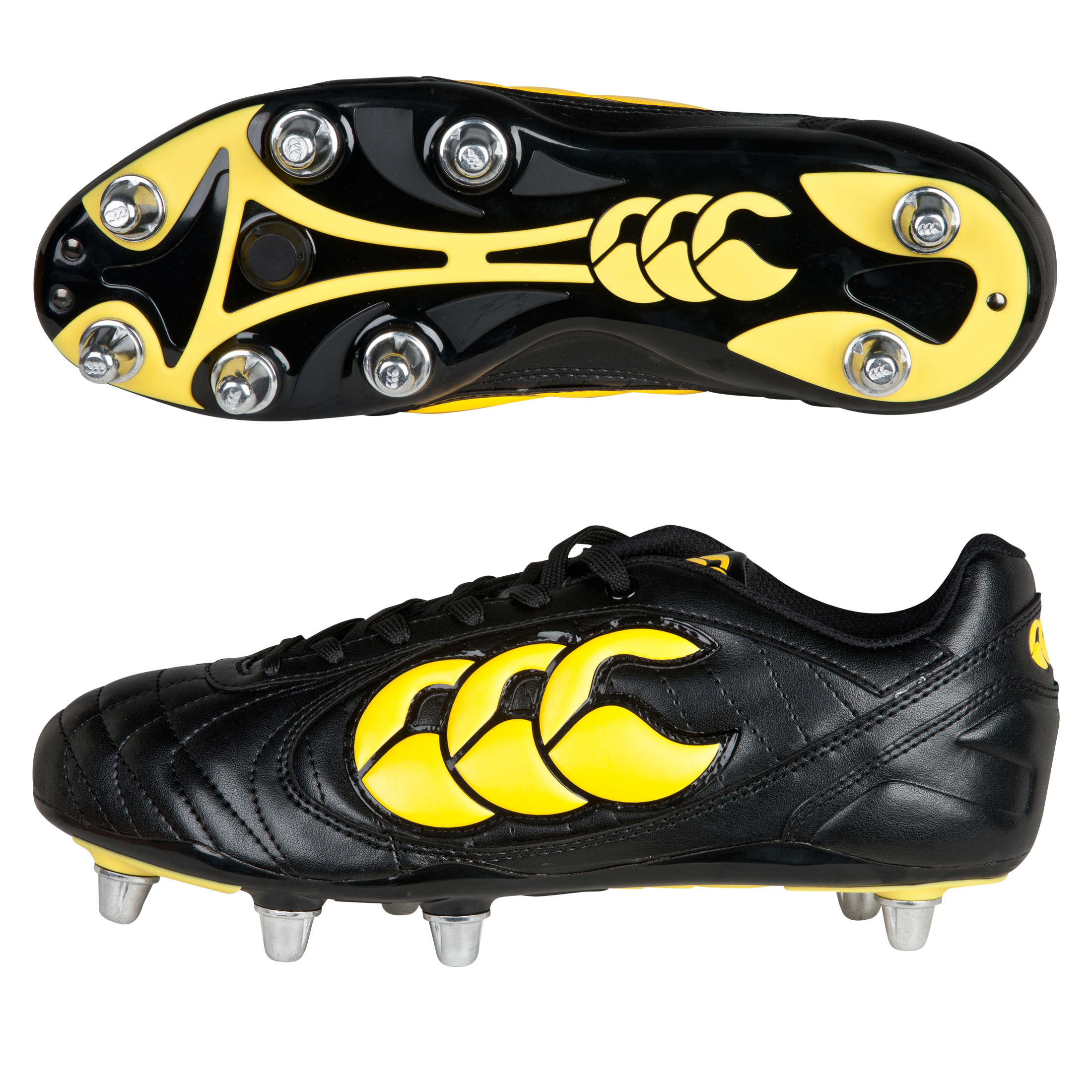Canterbury Stampede II Club 8 Stud Rugby Boots - Black/Yellow/Black