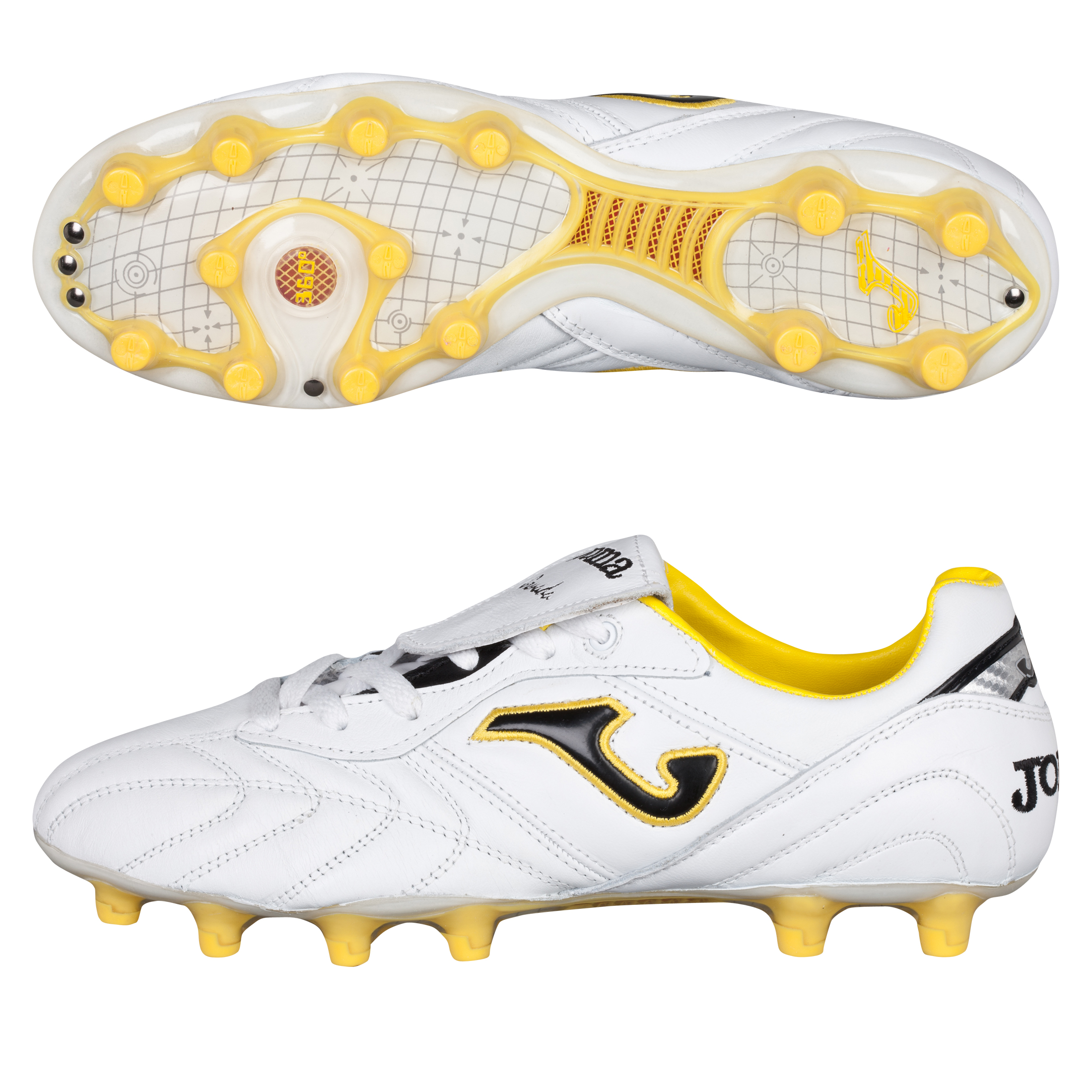Joma Granada Firm Ground Football Boots - White/Yellow